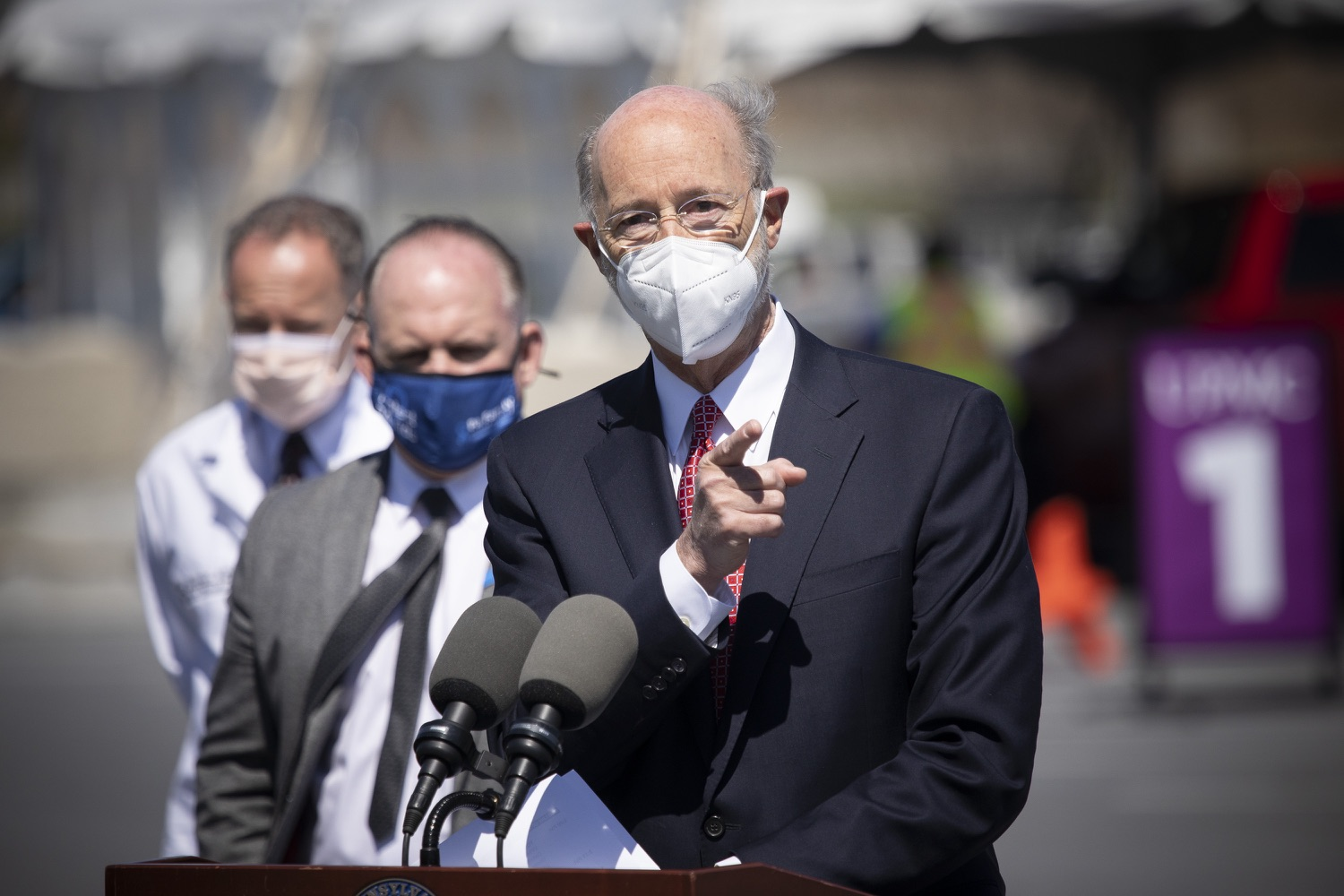 """<a href=""""https://filesource.wostreaming.net/commonwealthofpa/photo/18631_gov_hacc_vaccine_dz_001.jpg"""" target=""""_blank"""">⇣Download Photo<br></a>Pennsylvania Governor Tom Wolf speaking with the press.  Governor Wolf today visited the COVID-19 drive-thru mass vaccination clinic for Dauphin County residents at Harrisburg Area Community College. The drive-thru clinic was developed in partnership with UPMC Pinnacle and Dauphin County. He was joined by UPMC Pinnacle President Phil Guarneschelli and Dauphin County Commissioners Mike Pries and George P. Hartwick III.  HARRISBURG, PA -- March 30, 2021"""