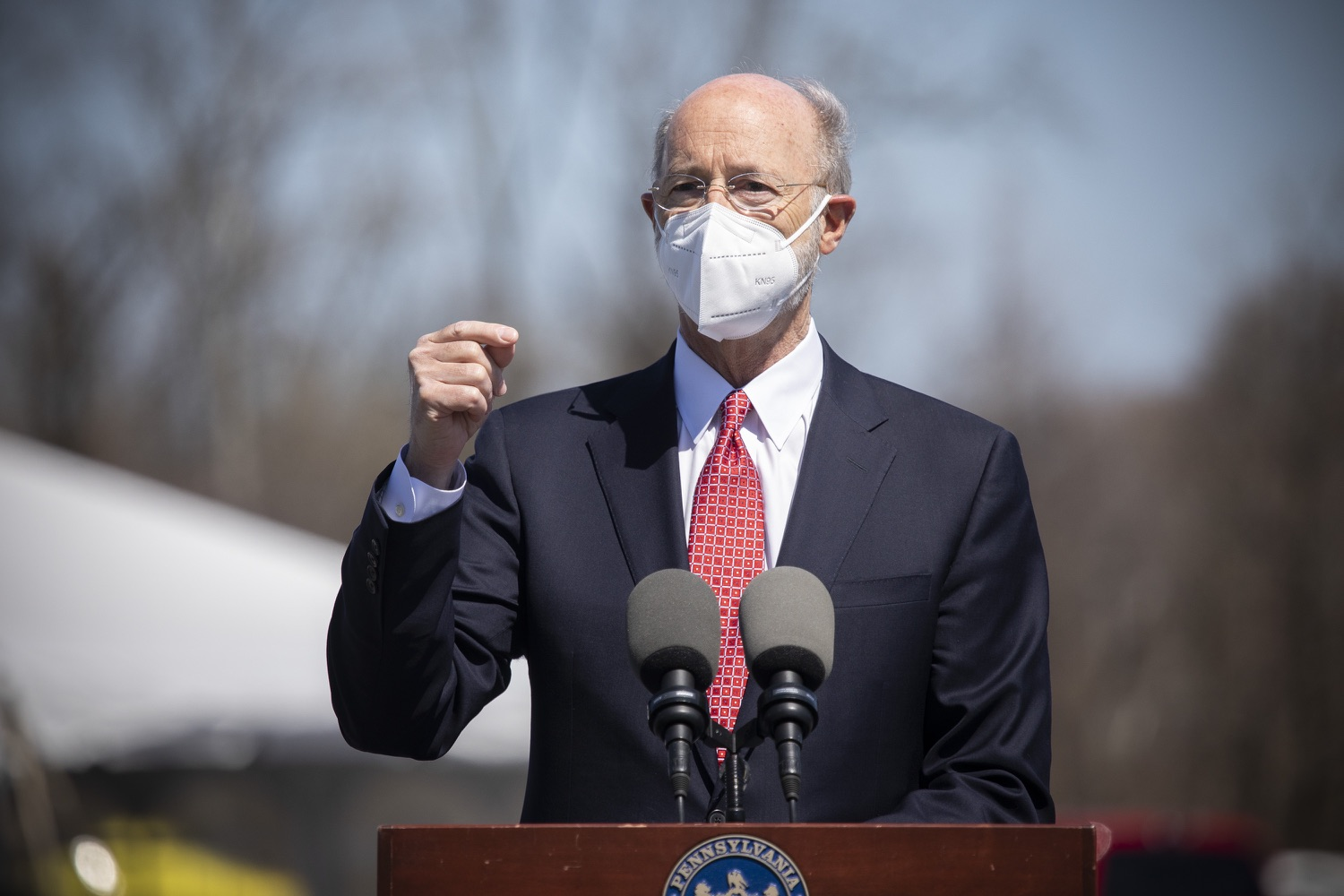 """<a href=""""https://filesource.wostreaming.net/commonwealthofpa/photo/18631_gov_hacc_vaccine_dz_002.jpg"""" target=""""_blank"""">⇣Download Photo<br></a>Pennsylvania Governor Tom Wolf speaking with the press.  Governor Wolf today visited the COVID-19 drive-thru mass vaccination clinic for Dauphin County residents at Harrisburg Area Community College. The drive-thru clinic was developed in partnership with UPMC Pinnacle and Dauphin County. He was joined by UPMC Pinnacle President Phil Guarneschelli and Dauphin County Commissioners Mike Pries and George P. Hartwick III.  HARRISBURG, PA -- March 30, 2021"""
