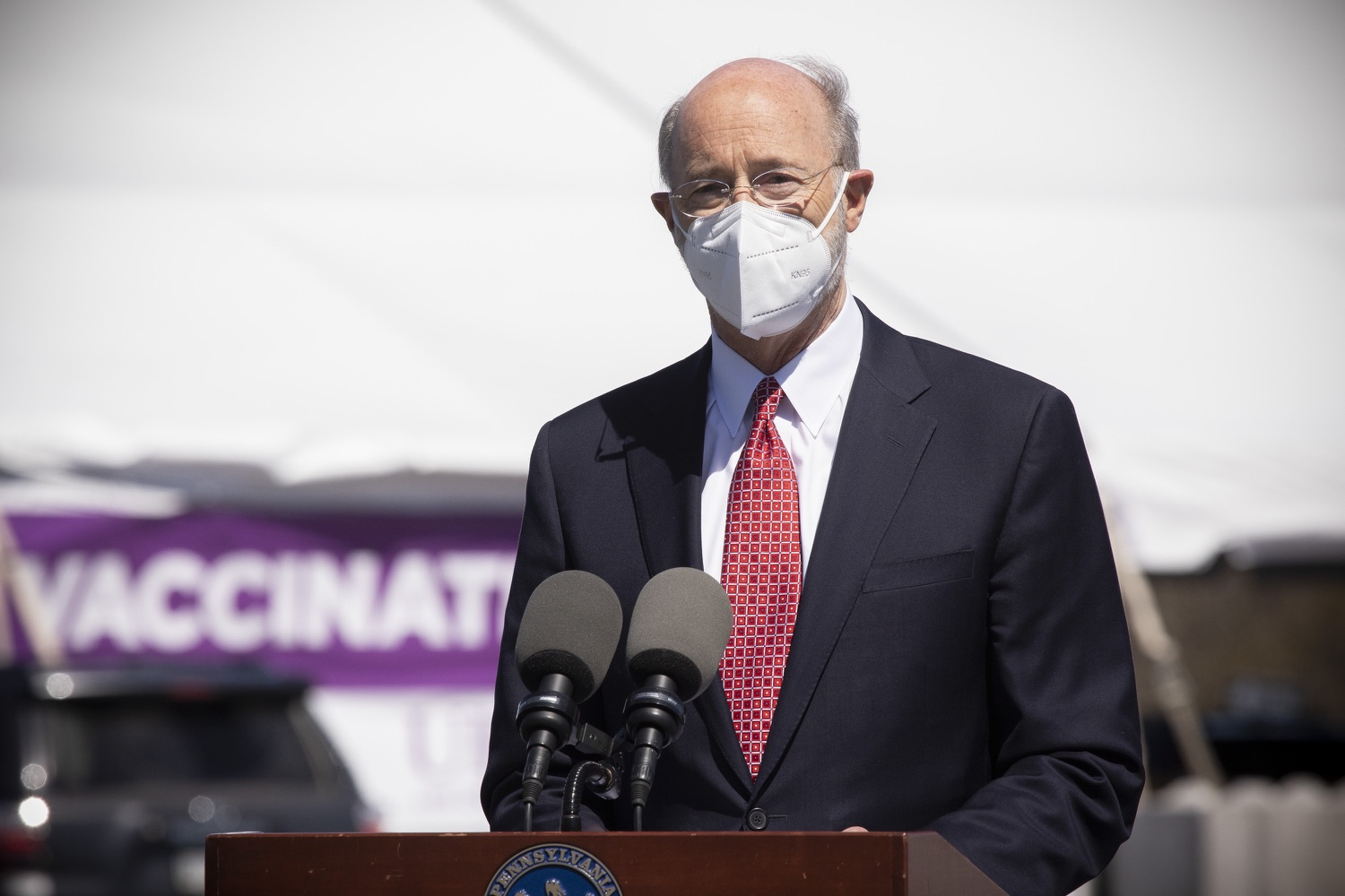"""<a href=""""https://filesource.wostreaming.net/commonwealthofpa/photo/18631_gov_hacc_vaccine_dz_007.jpg"""" target=""""_blank"""">⇣Download Photo<br></a>Pennsylvania Governor Tom Wolf speaking with the press.  Governor Wolf today visited the COVID-19 drive-thru mass vaccination clinic for Dauphin County residents at Harrisburg Area Community College. The drive-thru clinic was developed in partnership with UPMC Pinnacle and Dauphin County. He was joined by UPMC Pinnacle President Phil Guarneschelli and Dauphin County Commissioners Mike Pries and George P. Hartwick III.  HARRISBURG, PA -- March 30, 2021"""