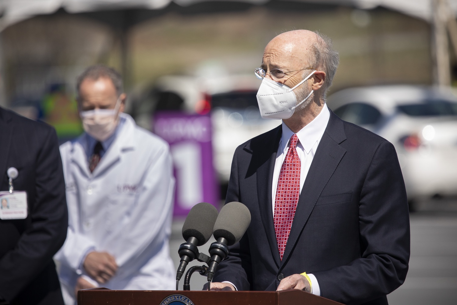 """<a href=""""https://filesource.wostreaming.net/commonwealthofpa/photo/18631_gov_hacc_vaccine_dz_009.jpg"""" target=""""_blank"""">⇣Download Photo<br></a>Pennsylvania Governor Tom Wolf speaking with the press.  Governor Wolf today visited the COVID-19 drive-thru mass vaccination clinic for Dauphin County residents at Harrisburg Area Community College. The drive-thru clinic was developed in partnership with UPMC Pinnacle and Dauphin County. He was joined by UPMC Pinnacle President Phil Guarneschelli and Dauphin County Commissioners Mike Pries and George P. Hartwick III.  HARRISBURG, PA -- March 30, 2021"""