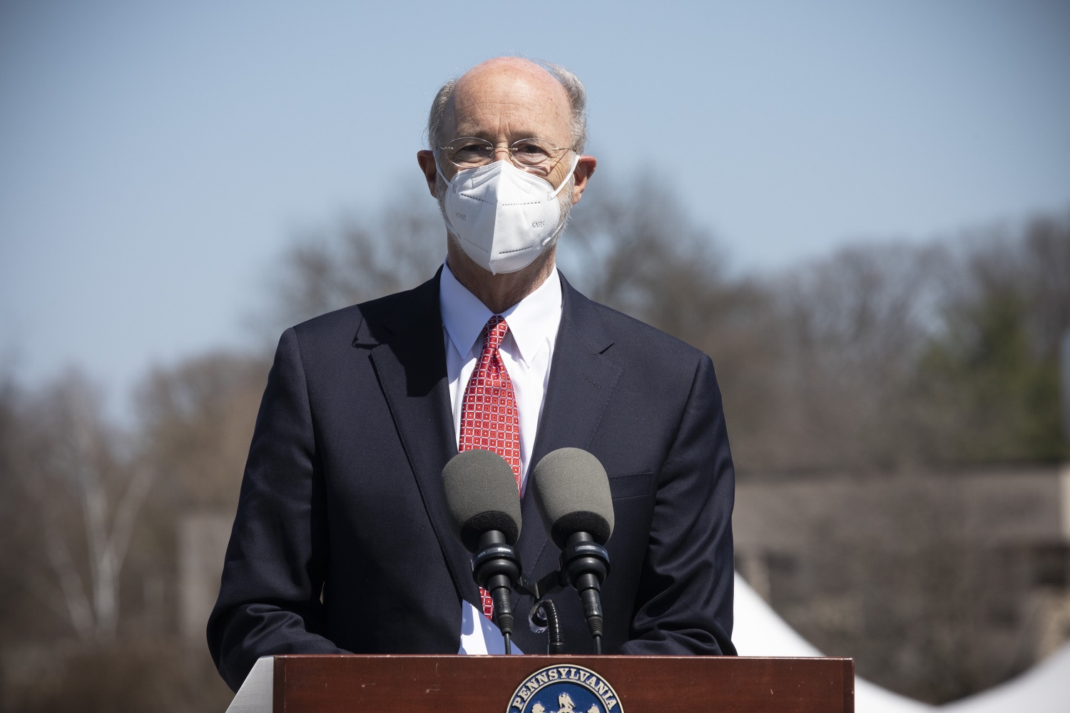 """<a href=""""https://filesource.wostreaming.net/commonwealthofpa/photo/18631_gov_hacc_vaccine_dz_015.jpg"""" target=""""_blank"""">⇣Download Photo<br></a>Pennsylvania Governor Tom Wolf speaking with the press.  Governor Wolf today visited the COVID-19 drive-thru mass vaccination clinic for Dauphin County residents at Harrisburg Area Community College. The drive-thru clinic was developed in partnership with UPMC Pinnacle and Dauphin County. He was joined by UPMC Pinnacle President Phil Guarneschelli and Dauphin County Commissioners Mike Pries and George P. Hartwick III.  HARRISBURG, PA -- March 30, 2021"""