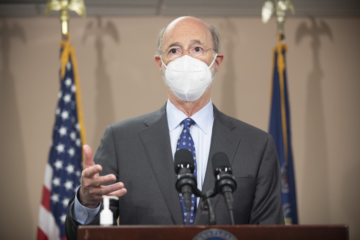 """<a href=""""https://filesource.wostreaming.net/commonwealthofpa/photo/18646_gov_vaccines_dz_001.jpg"""" target=""""_blank"""">⇣Download Photo<br></a>Pennsylvania Governor Tom Wolf speaking with the press.  After vaccinating more than 112,500 teachers and school staff in only about three weeks, Governor Tom Wolf visited Luzerne County today to announce the special vaccination initiative is a success and was completed ahead of schedule. The accomplishment is an important step to help more students and teachers safely return to classrooms across the state.  Kingston, PA - April 2, 2021"""