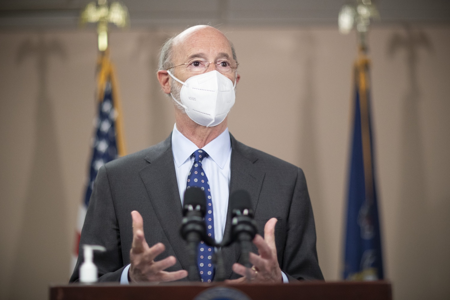 """<a href=""""https://filesource.wostreaming.net/commonwealthofpa/photo/18646_gov_vaccines_dz_003.jpg"""" target=""""_blank"""">⇣Download Photo<br></a>Pennsylvania Governor Tom Wolf speaking with the press.  After vaccinating more than 112,500 teachers and school staff in only about three weeks, Governor Tom Wolf visited Luzerne County today to announce the special vaccination initiative is a success and was completed ahead of schedule. The accomplishment is an important step to help more students and teachers safely return to classrooms across the state.  Kingston, PA - April 2, 2021"""