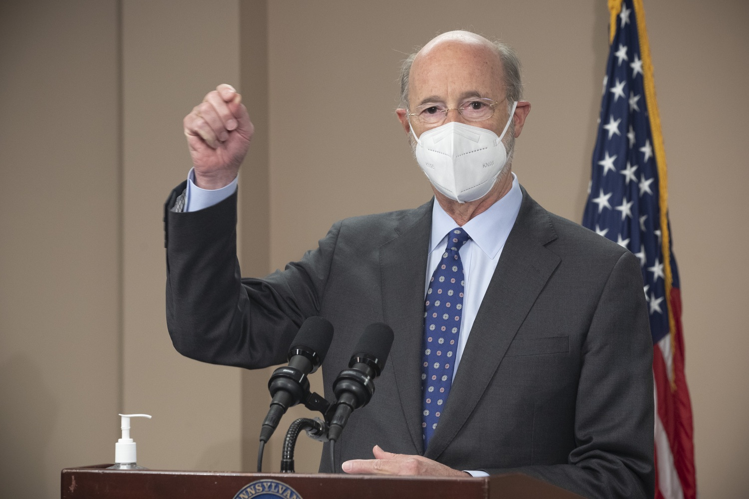 """<a href=""""https://filesource.wostreaming.net/commonwealthofpa/photo/18646_gov_vaccines_dz_008.jpg"""" target=""""_blank"""">⇣Download Photo<br></a>Pennsylvania Governor Tom Wolf speaking with the press.  After vaccinating more than 112,500 teachers and school staff in only about three weeks, Governor Tom Wolf visited Luzerne County today to announce the special vaccination initiative is a success and was completed ahead of schedule. The accomplishment is an important step to help more students and teachers safely return to classrooms across the state.  Kingston, PA - April 2, 2021"""