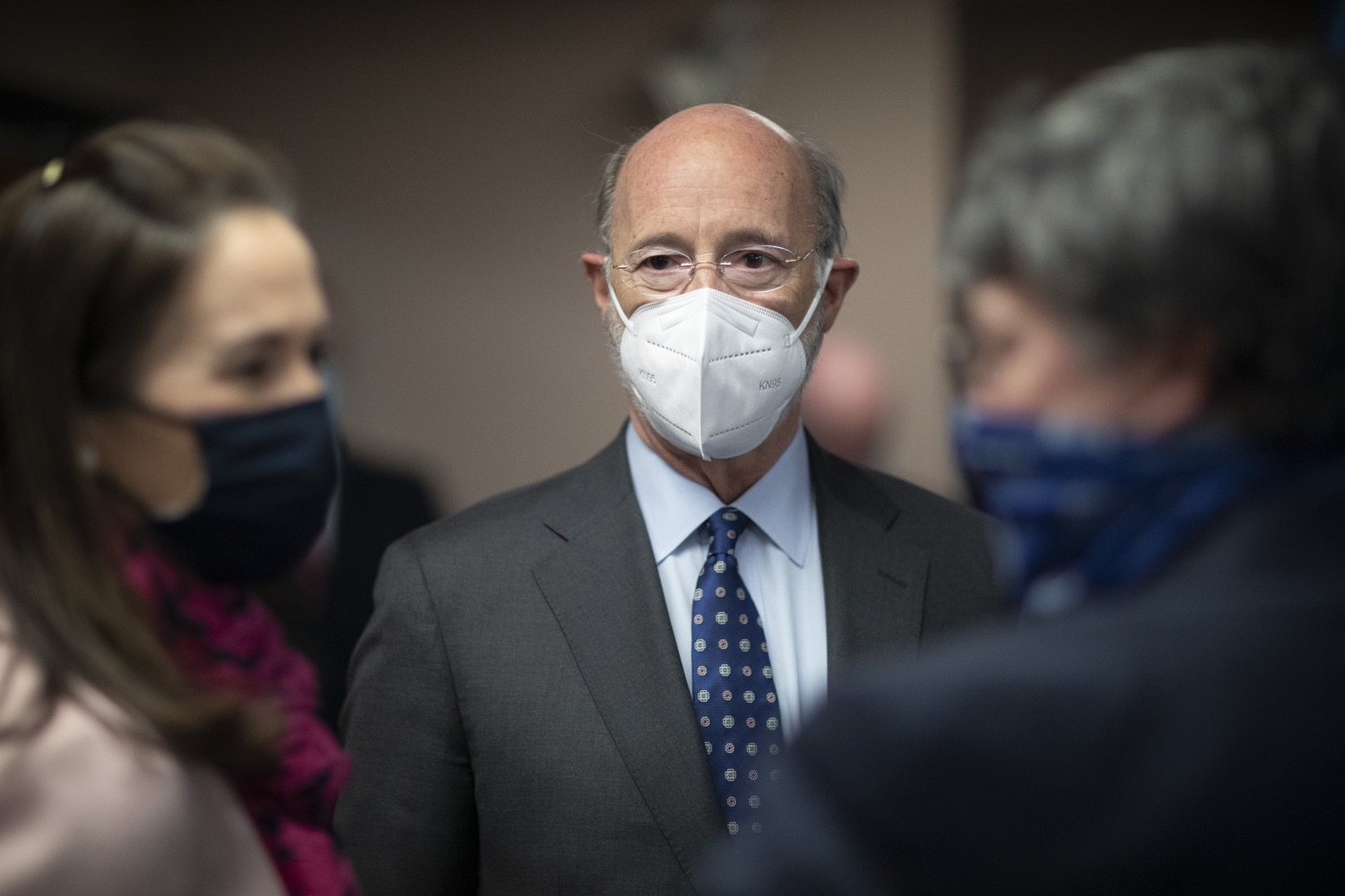 """<a href=""""https://filesource.wostreaming.net/commonwealthofpa/photo/18646_gov_vaccines_dz_009.jpg"""" target=""""_blank"""">⇣Download Photo<br></a>Pennsylvania Governor Tom Wolf speaking before the press conference.  After vaccinating more than 112,500 teachers and school staff in only about three weeks, Governor Tom Wolf visited Luzerne County today to announce the special vaccination initiative is a success and was completed ahead of schedule. The accomplishment is an important step to help more students and teachers safely return to classrooms across the state.  Kingston, PA - April 2, 2021"""