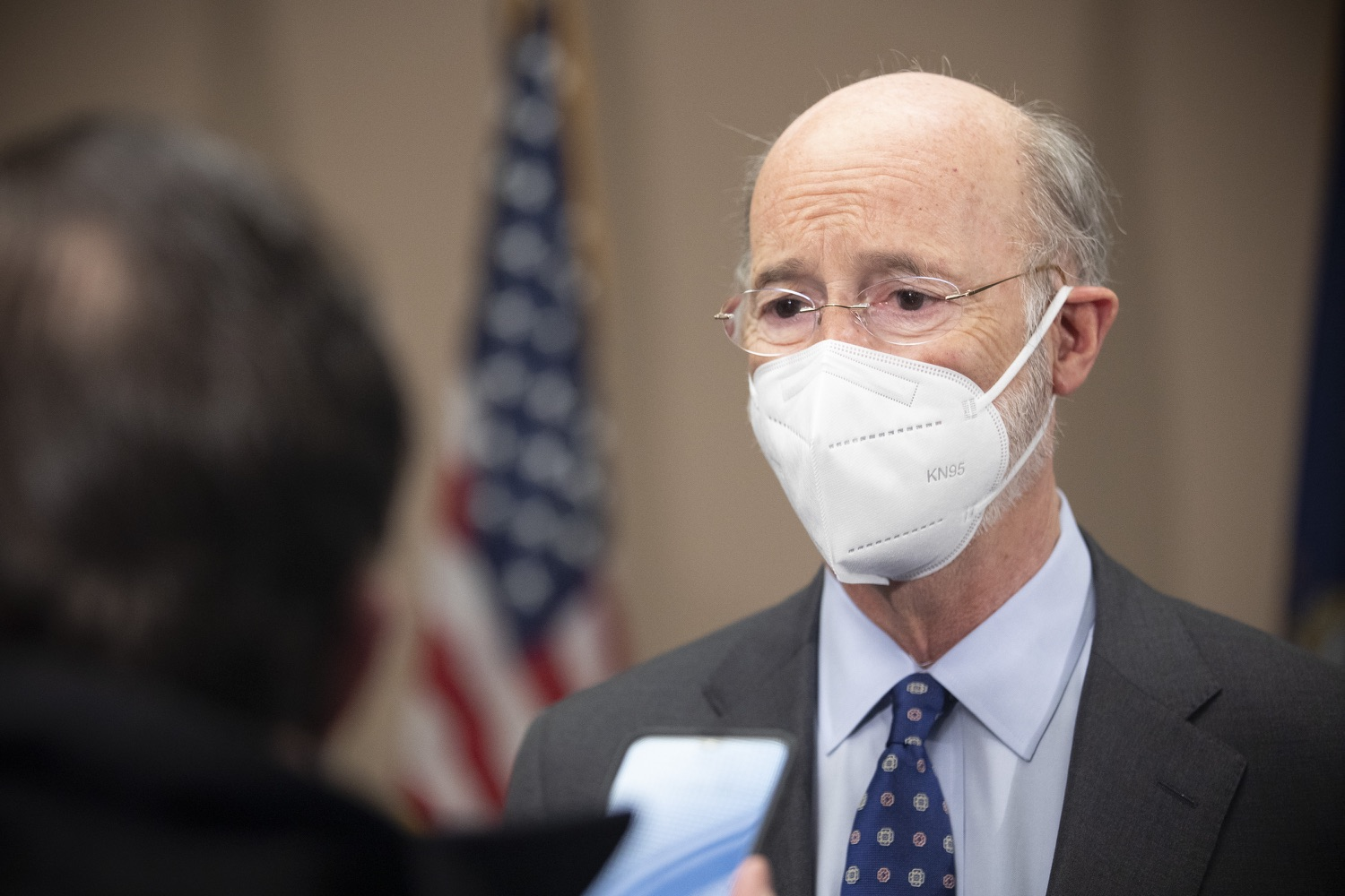"""<a href=""""https://filesource.wostreaming.net/commonwealthofpa/photo/18646_gov_vaccines_dz_018.jpg"""" target=""""_blank"""">⇣Download Photo<br></a>Pennsylvania Governor Tom Wolf speaking with the press.  After vaccinating more than 112,500 teachers and school staff in only about three weeks, Governor Tom Wolf visited Luzerne County today to announce the special vaccination initiative is a success and was completed ahead of schedule. The accomplishment is an important step to help more students and teachers safely return to classrooms across the state.  Kingston, PA - April 2, 2021"""