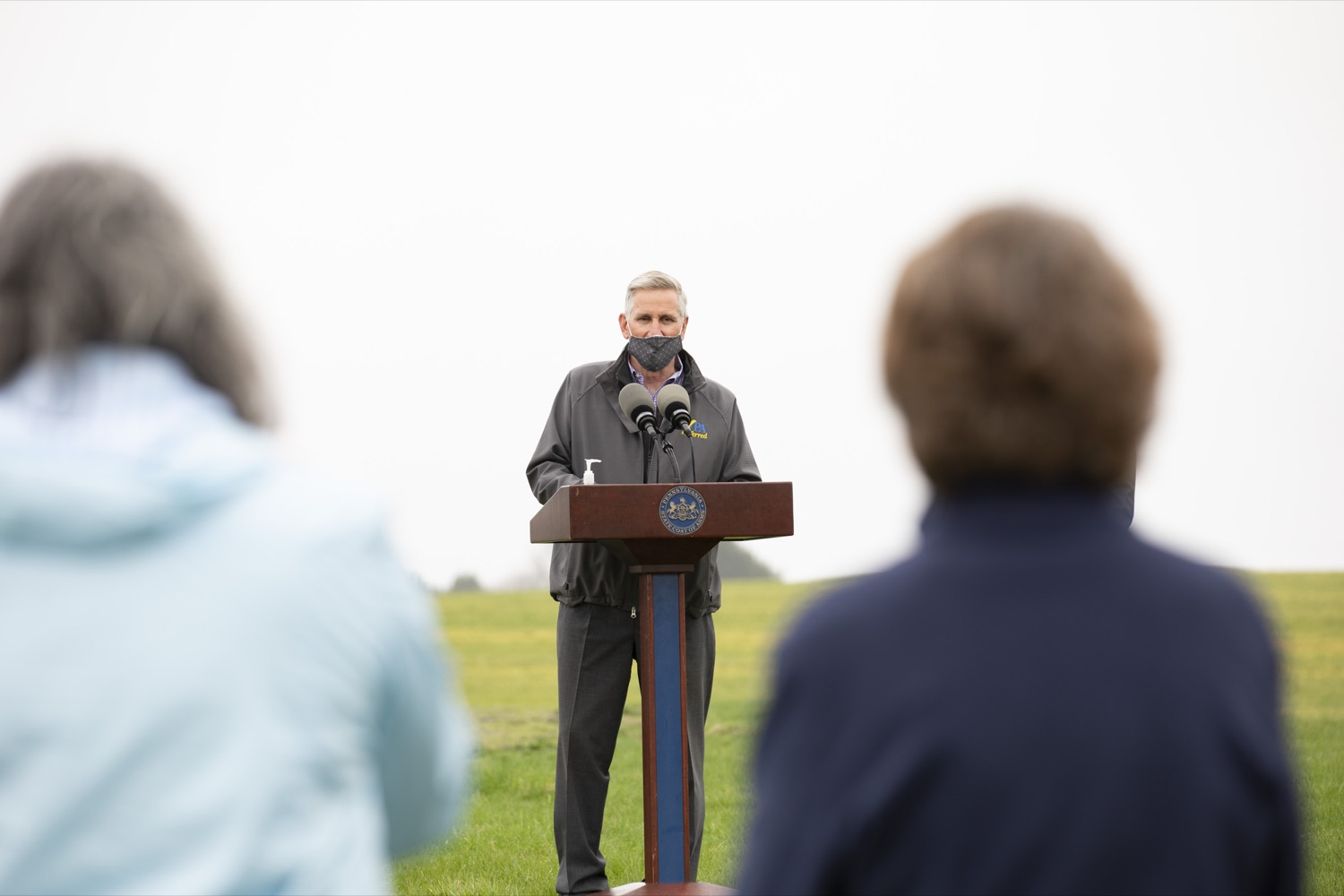 """<a href=""""https://filesource.wostreaming.net/commonwealthofpa/photo/18647_agric_vitalityGrants_cz_08.jpg"""" target=""""_blank"""">⇣Download Photo<br></a>Secretary of Agriculture Russell Redding announces the opening of the $1 million Farm Vitality Grant Program, which seeks to enhance the vitality of Pennsylvanias farms. Boiling Springs, PA on April 9, 2021."""