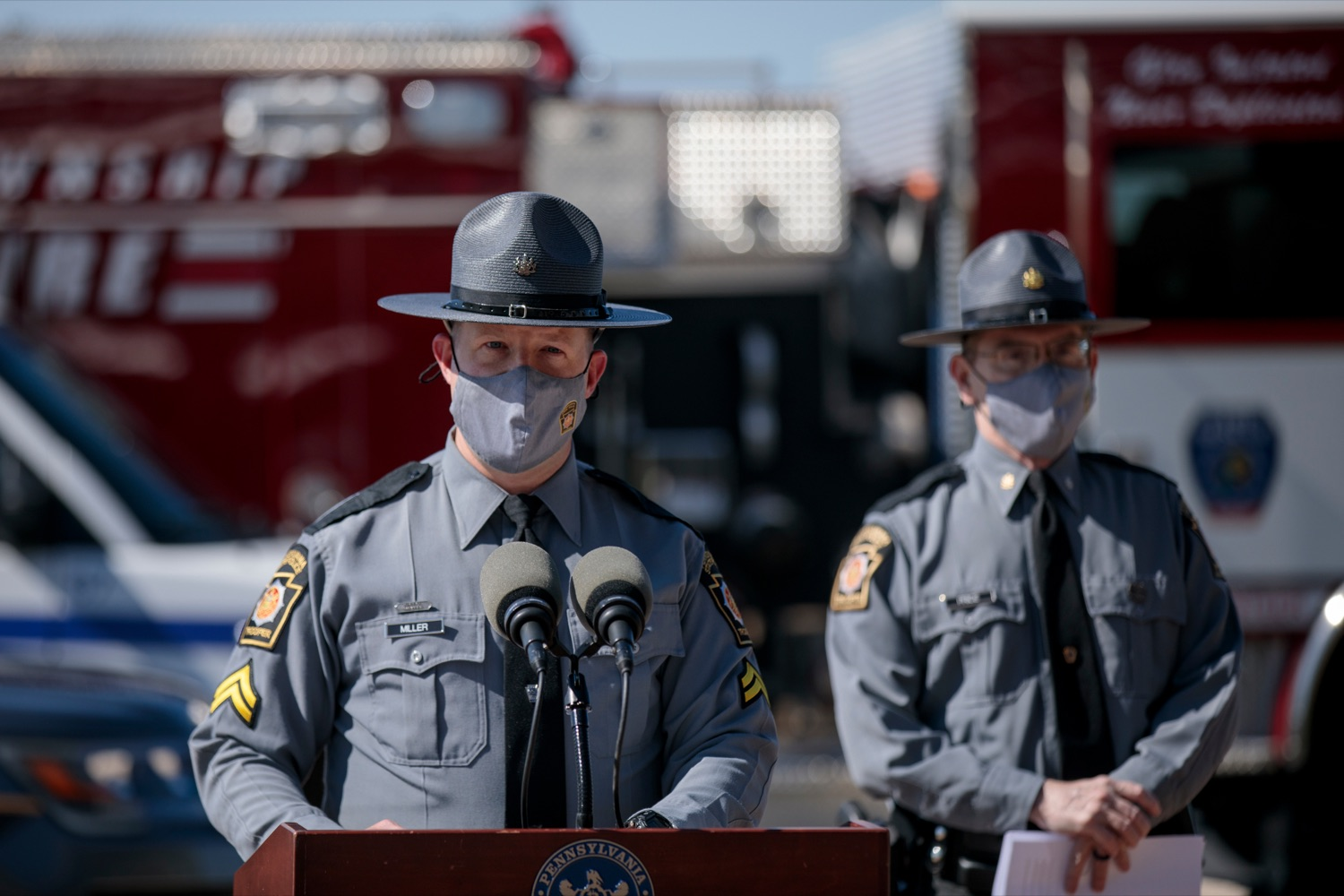 "<a href=""https://filesource.wostreaming.net/commonwealthofpa/photo/18650_PennDOT_WorkZone_NK_001.jpg"" target=""_blank"">⇣ Download Photo<br></a>Corporal Brent Miller, Director of Communications with the Pennsylvania State Police, speaks during a press conference promoting National Work Zone Awareness Week outside of Pennsylvania State Police Headquarters on Monday, April 26, 2021."