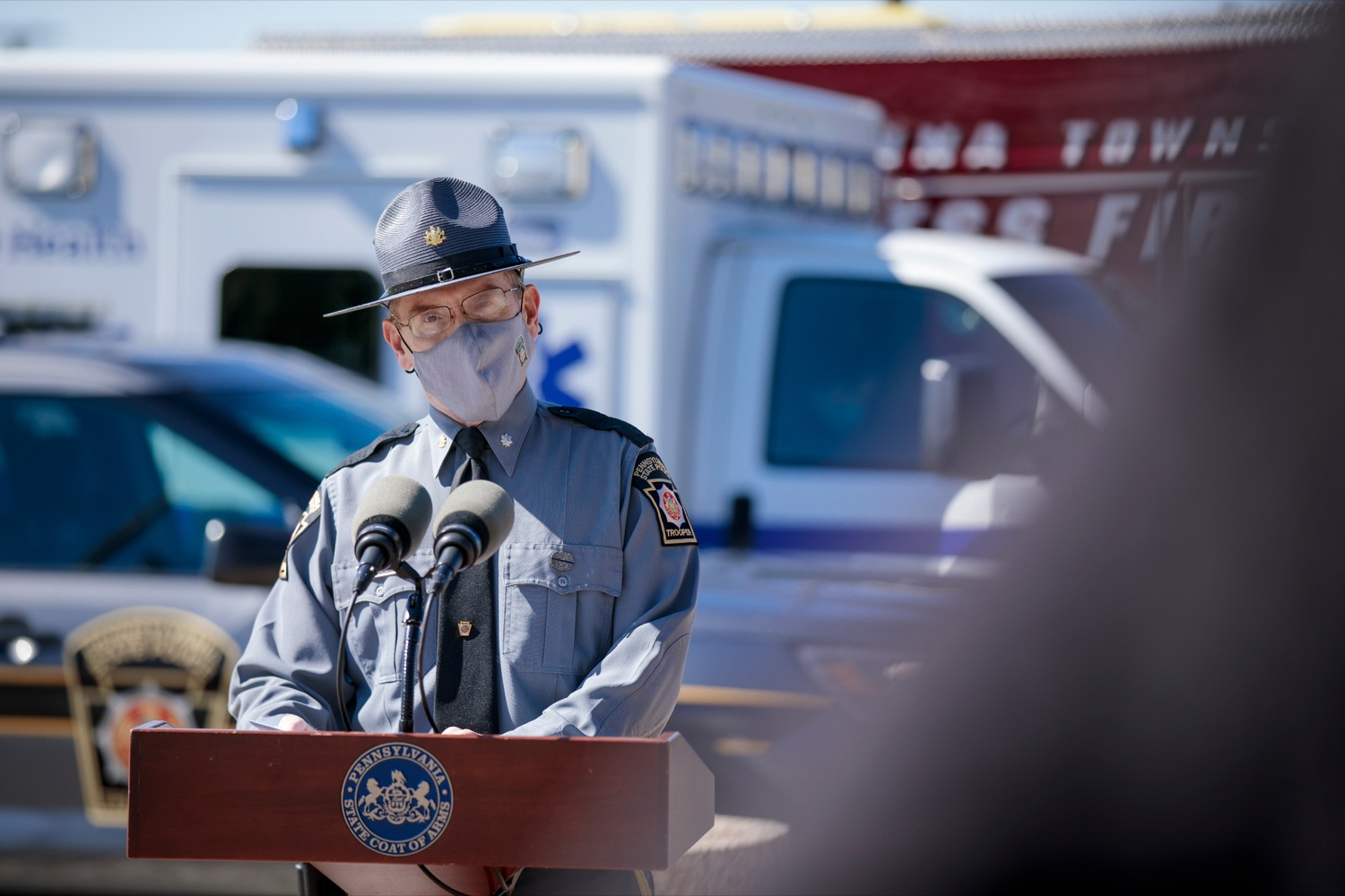"<a href=""https://filesource.wostreaming.net/commonwealthofpa/photo/18650_PennDOT_WorkZone_NK_004.jpg"" target=""_blank"">⇣ Download Photo<br></a>Lieutenant Colonel Scott Price, deputy commissioner of operations, speaks during a press conference promoting National Work Zone Awareness Week outside of Pennsylvania State Police Headquarters on Monday, April 26, 2021."