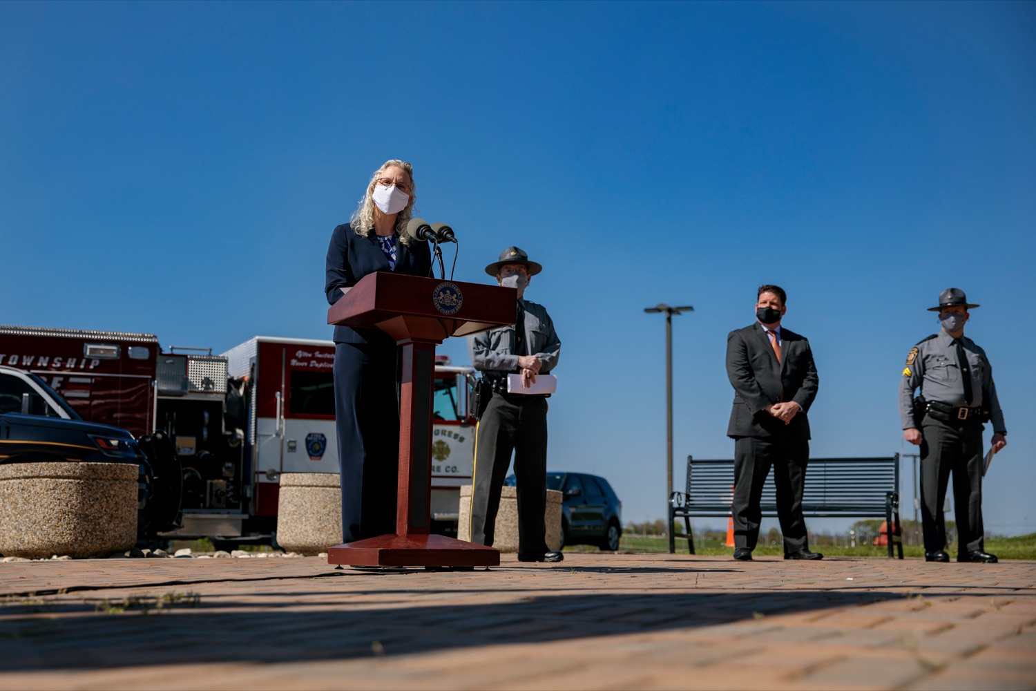 "<a href=""https://filesource.wostreaming.net/commonwealthofpa/photo/18650_PennDOT_WorkZone_NK_005.jpg"" target=""_blank"">⇣ Download Photo<br></a>PennDOT Executive Deputy Secretary Melissa Batula speaks during a press conference promoting National Work Zone Awareness Week outside of Pennsylvania State Police Headquarters on Monday, April 26, 2021."
