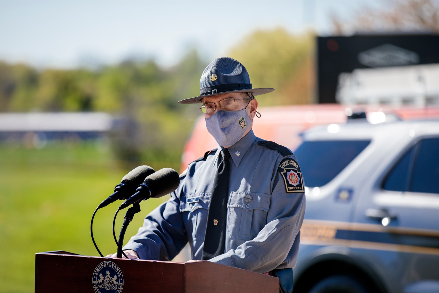 "<a href=""https://filesource.wostreaming.net/commonwealthofpa/photo/18650_PennDOT_WorkZone_NK_007.jpg"" target=""_blank"">⇣ Download Photo<br></a>Lieutenant Colonel Scott Price, deputy commissioner of operations, speaks during a press conference promoting National Work Zone Awareness Week outside of Pennsylvania State Police Headquarters on Monday, April 26, 2021."