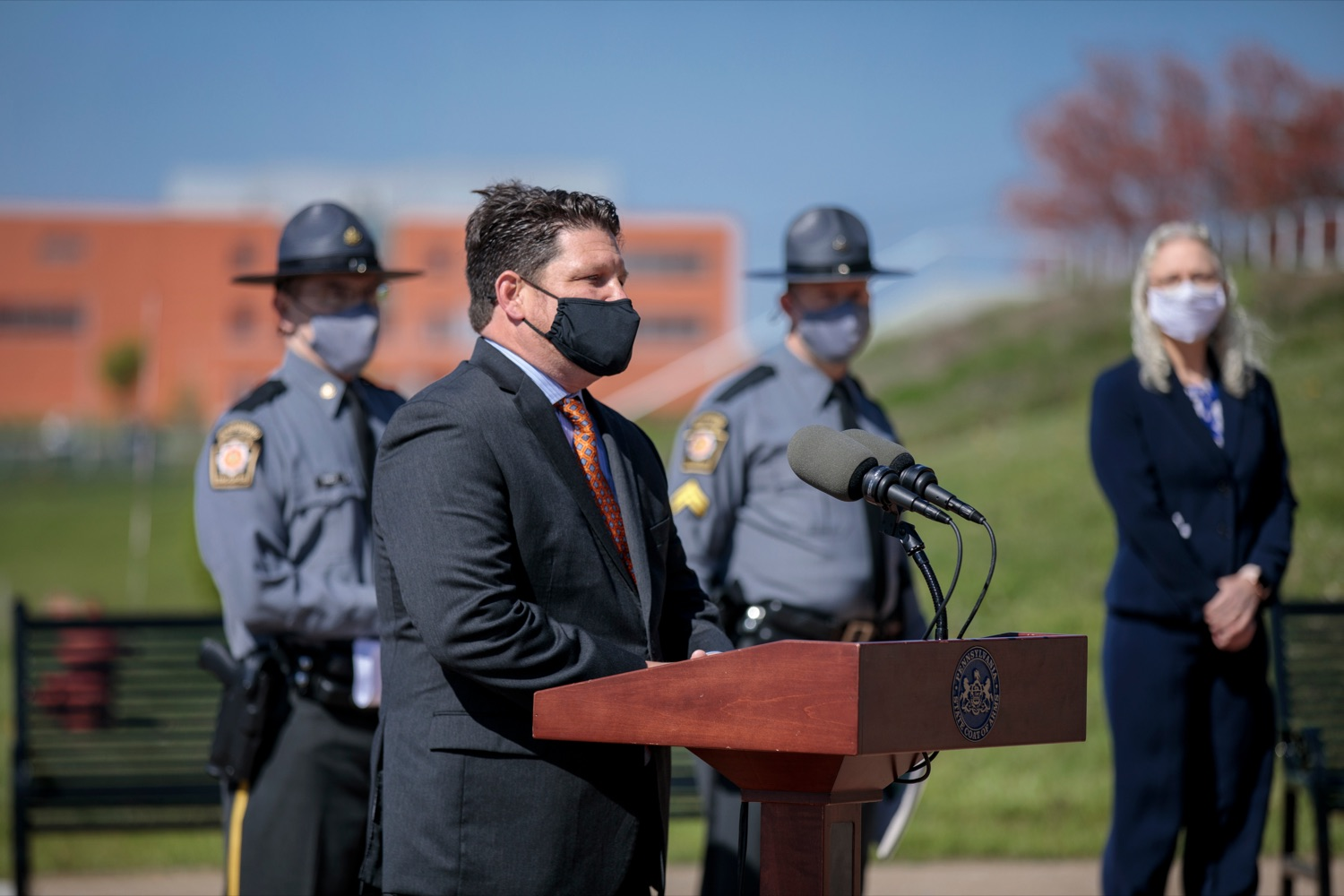 "<a href=""https://filesource.wostreaming.net/commonwealthofpa/photo/18650_PennDOT_WorkZone_NK_014.jpg"" target=""_blank"">⇣ Download Photo<br></a>Pennsylvania Turnpike Commission Chief Operating Officer Craig Shuey speaks during a press conference promoting National Work Zone Awareness Week outside of Pennsylvania State Police Headquarters on Monday, April 26, 2021."