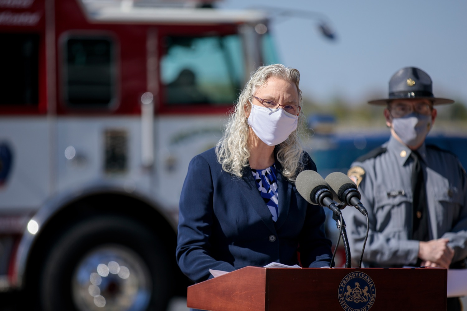 "<a href=""https://filesource.wostreaming.net/commonwealthofpa/photo/18650_PennDOT_WorkZone_NK_015.jpg"" target=""_blank"">⇣ Download Photo<br></a>PennDOT Executive Deputy Secretary Melissa Batula speaks during a press conference promoting National Work Zone Awareness Week outside of Pennsylvania State Police Headquarters on Monday, April 26, 2021."