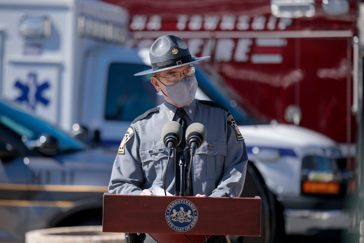 "<a href=""https://filesource.wostreaming.net/commonwealthofpa/photo/18650_PennDOT_WorkZone_NK_016.jpg"" target=""_blank"">⇣ Download Photo<br></a>Lieutenant Colonel Scott Price, deputy commissioner of operations, speaks during a press conference promoting National Work Zone Awareness Week outside of Pennsylvania State Police Headquarters on Monday, April 26, 2021."