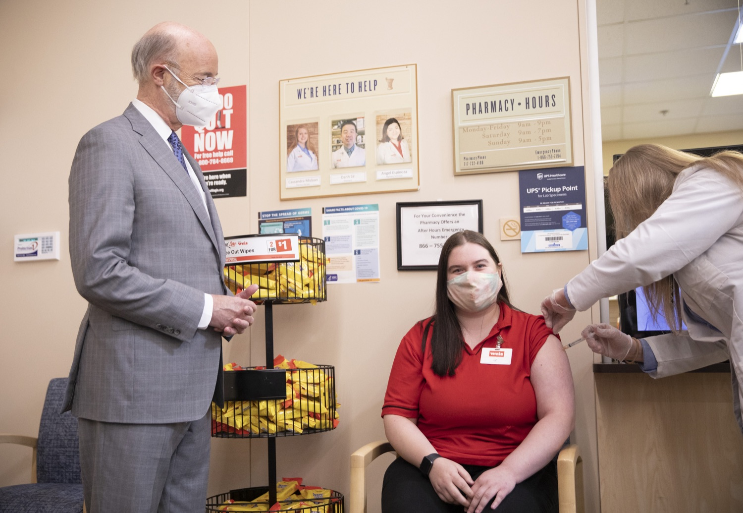 """<a href=""""https://filesource.wostreaming.net/commonwealthofpa/photo/18654_gov_vaccineeligibility_dz_004.jpg"""" target=""""_blank"""">⇣Download Photo<br></a>Pennsylvania Governor Tom Wolf tours of Weis Markets and watches a Weis employee receive a vaccine.  Gov. Tom Wolf visited Weis Markets in Enola, Cumberland County, to recognize the heroic efforts of Pennsylvania's grocery store workers, who are now eligible for the COVID-19 vaccine.  The governor expressed his gratitude to Pennsylvania's 180,000 grocery store workers, who suddenly became frontline workers as the state took critical steps to mitigate the spread of COVID-19. Grocery stores were deemed life-sustaining businesses, and these employees put their lives at risk to ensure their stores remained open to the public. APRIL 06, 2021 - ENOLA, PA.."""