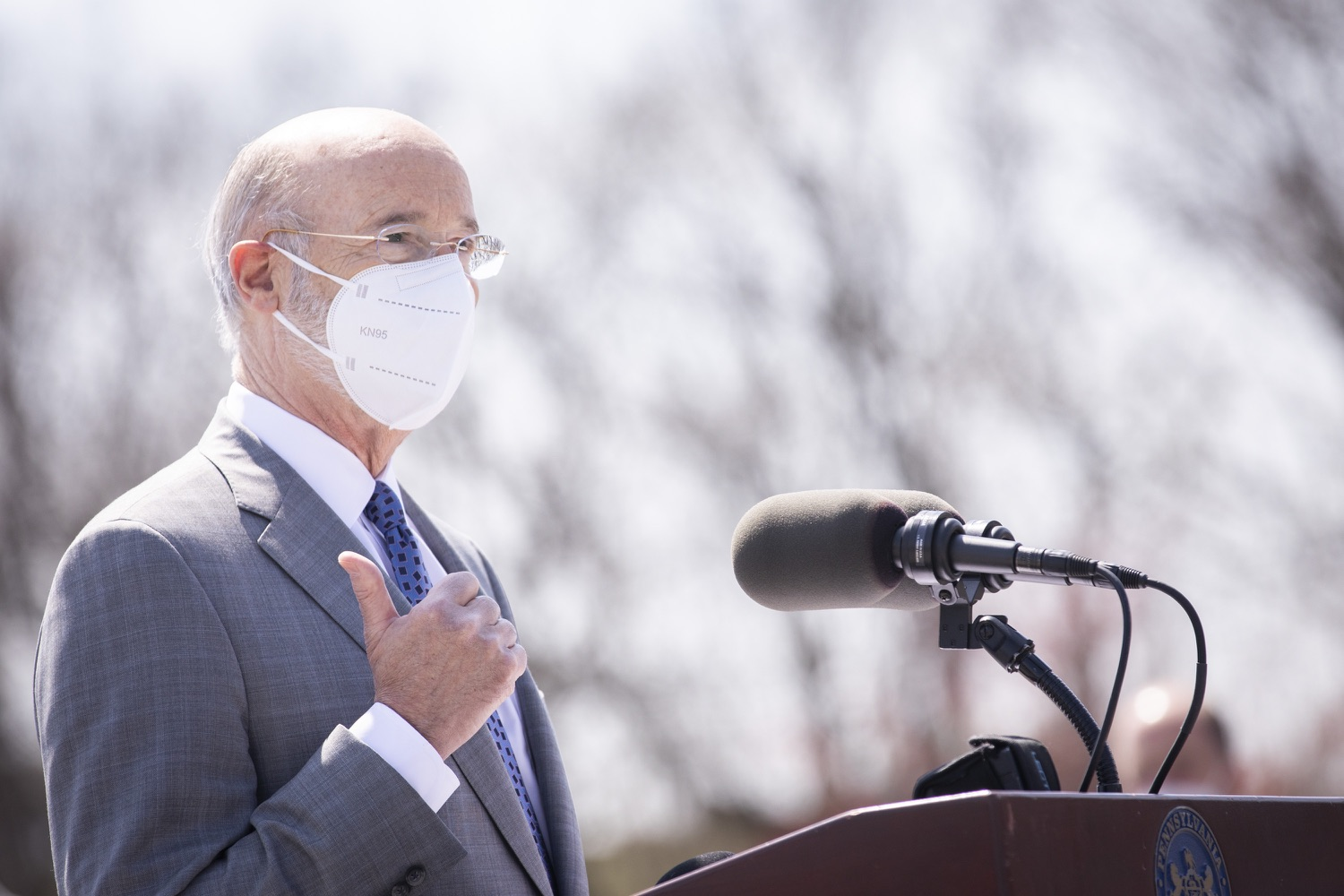 """<a href=""""https://filesource.wostreaming.net/commonwealthofpa/photo/18654_gov_vaccineeligibility_dz_009.jpg"""" target=""""_blank"""">⇣Download Photo<br></a>Pennsylvania Governor Tom Wolf speaking to the press.  Gov. Tom Wolf visited Weis Markets in Enola, Cumberland County, to recognize the heroic efforts of Pennsylvania's grocery store workers, who are now eligible for the COVID-19 vaccine.  The governor expressed his gratitude to Pennsylvania's 180,000 grocery store workers, who suddenly became frontline workers as the state took critical steps to mitigate the spread of COVID-19. Grocery stores were deemed life-sustaining businesses, and these employees put their lives at risk to ensure their stores remained open to the public. APRIL 06, 2021 - ENOLA, PA.."""