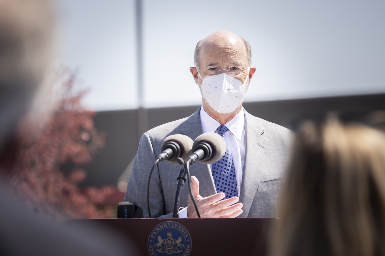 """<a href=""""https://filesource.wostreaming.net/commonwealthofpa/photo/18654_gov_vaccineeligibility_dz_013.jpg"""" target=""""_blank"""">⇣Download Photo<br></a>Pennsylvania Governor Tom Wolf speaking to the press.  Gov. Tom Wolf visited Weis Markets in Enola, Cumberland County, to recognize the heroic efforts of Pennsylvania's grocery store workers, who are now eligible for the COVID-19 vaccine.  The governor expressed his gratitude to Pennsylvania's 180,000 grocery store workers, who suddenly became frontline workers as the state took critical steps to mitigate the spread of COVID-19. Grocery stores were deemed life-sustaining businesses, and these employees put their lives at risk to ensure their stores remained open to the public. APRIL 06, 2021 - ENOLA, PA.."""