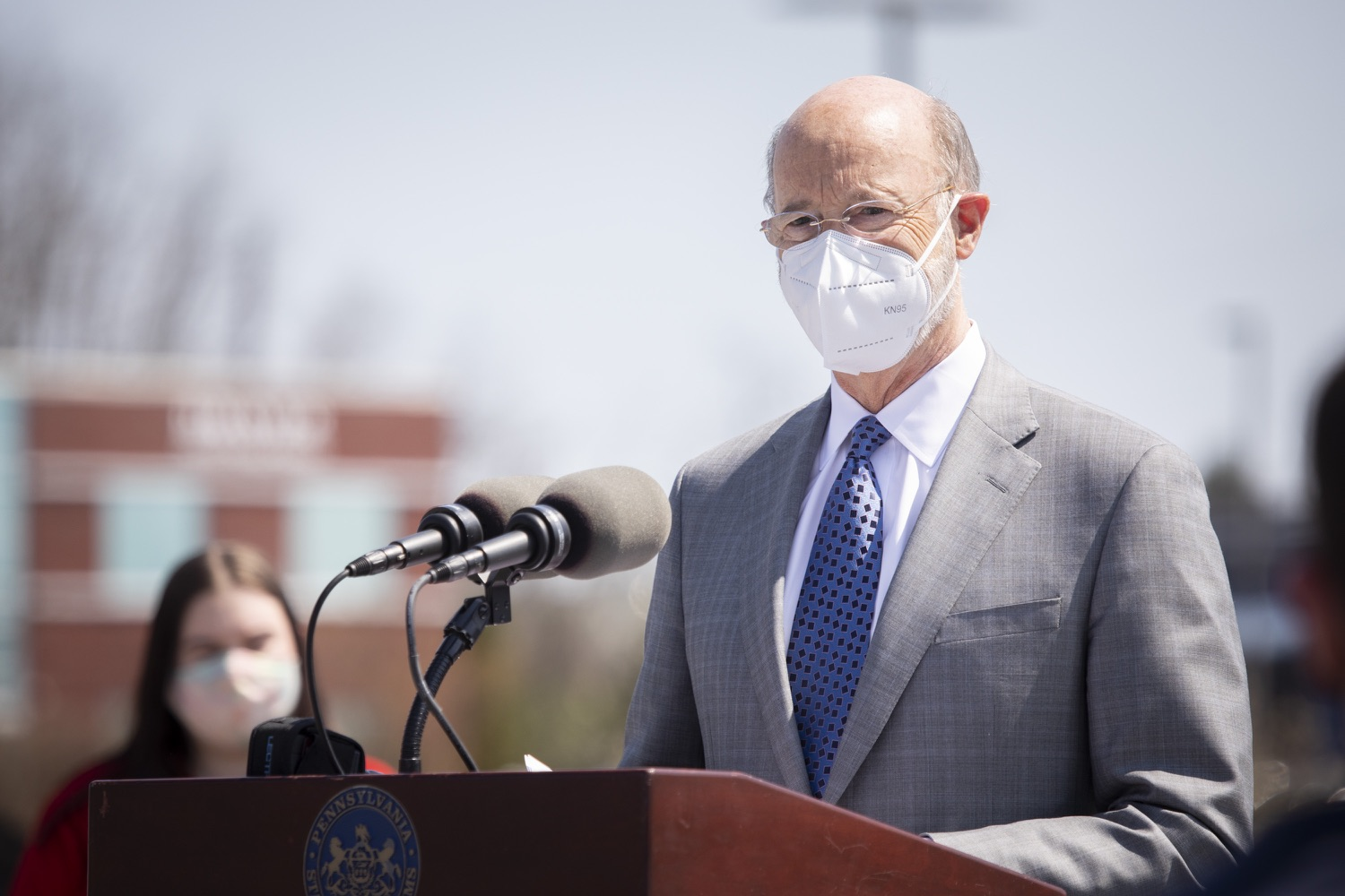 """<a href=""""https://filesource.wostreaming.net/commonwealthofpa/photo/18654_gov_vaccineeligibility_dz_015.jpg"""" target=""""_blank"""">⇣Download Photo<br></a>Pennsylvania Governor Tom Wolf speaking to the press.  Gov. Tom Wolf visited Weis Markets in Enola, Cumberland County, to recognize the heroic efforts of Pennsylvania's grocery store workers, who are now eligible for the COVID-19 vaccine.  The governor expressed his gratitude to Pennsylvania's 180,000 grocery store workers, who suddenly became frontline workers as the state took critical steps to mitigate the spread of COVID-19. Grocery stores were deemed life-sustaining businesses, and these employees put their lives at risk to ensure their stores remained open to the public. APRIL 06, 2021 - ENOLA, PA.."""