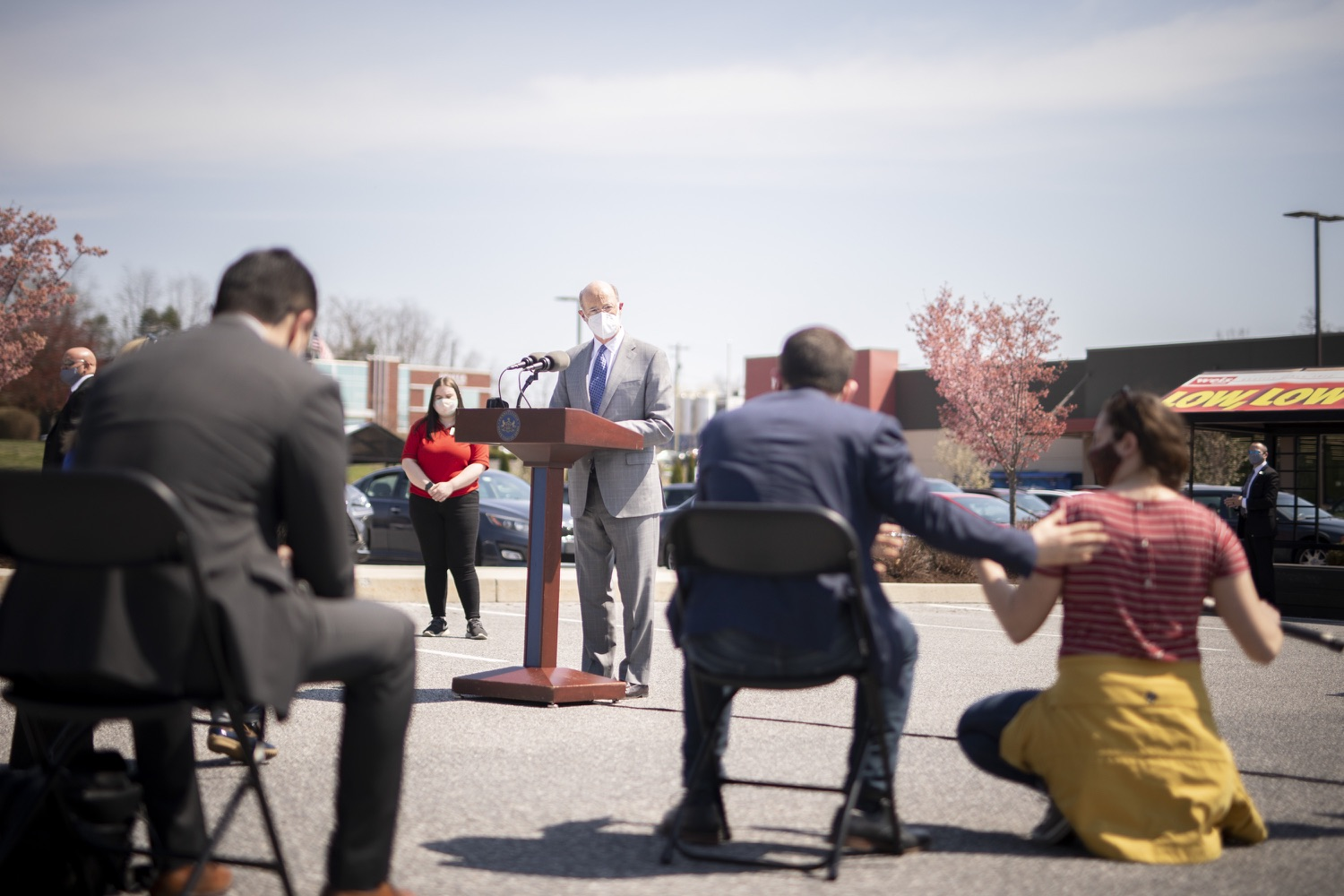"""<a href=""""https://filesource.wostreaming.net/commonwealthofpa/photo/18654_gov_vaccineeligibility_dz_018.jpg"""" target=""""_blank"""">⇣Download Photo<br></a>Pennsylvania Governor Tom Wolf speaking to the press.  Gov. Tom Wolf visited Weis Markets in Enola, Cumberland County, to recognize the heroic efforts of Pennsylvania's grocery store workers, who are now eligible for the COVID-19 vaccine.  The governor expressed his gratitude to Pennsylvania's 180,000 grocery store workers, who suddenly became frontline workers as the state took critical steps to mitigate the spread of COVID-19. Grocery stores were deemed life-sustaining businesses, and these employees put their lives at risk to ensure their stores remained open to the public. APRIL 06, 2021 - ENOLA, PA.."""