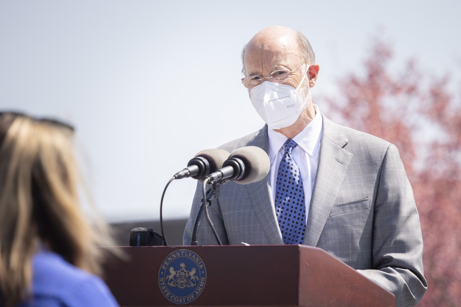 """<a href=""""https://filesource.wostreaming.net/commonwealthofpa/photo/18654_gov_vaccineeligibility_dz_019.jpg"""" target=""""_blank"""">⇣Download Photo<br></a>Pennsylvania Governor Tom Wolf speaking to the press.  Gov. Tom Wolf visited Weis Markets in Enola, Cumberland County, to recognize the heroic efforts of Pennsylvania's grocery store workers, who are now eligible for the COVID-19 vaccine.  The governor expressed his gratitude to Pennsylvania's 180,000 grocery store workers, who suddenly became frontline workers as the state took critical steps to mitigate the spread of COVID-19. Grocery stores were deemed life-sustaining businesses, and these employees put their lives at risk to ensure their stores remained open to the public. APRIL 06, 2021 - ENOLA, PA.."""