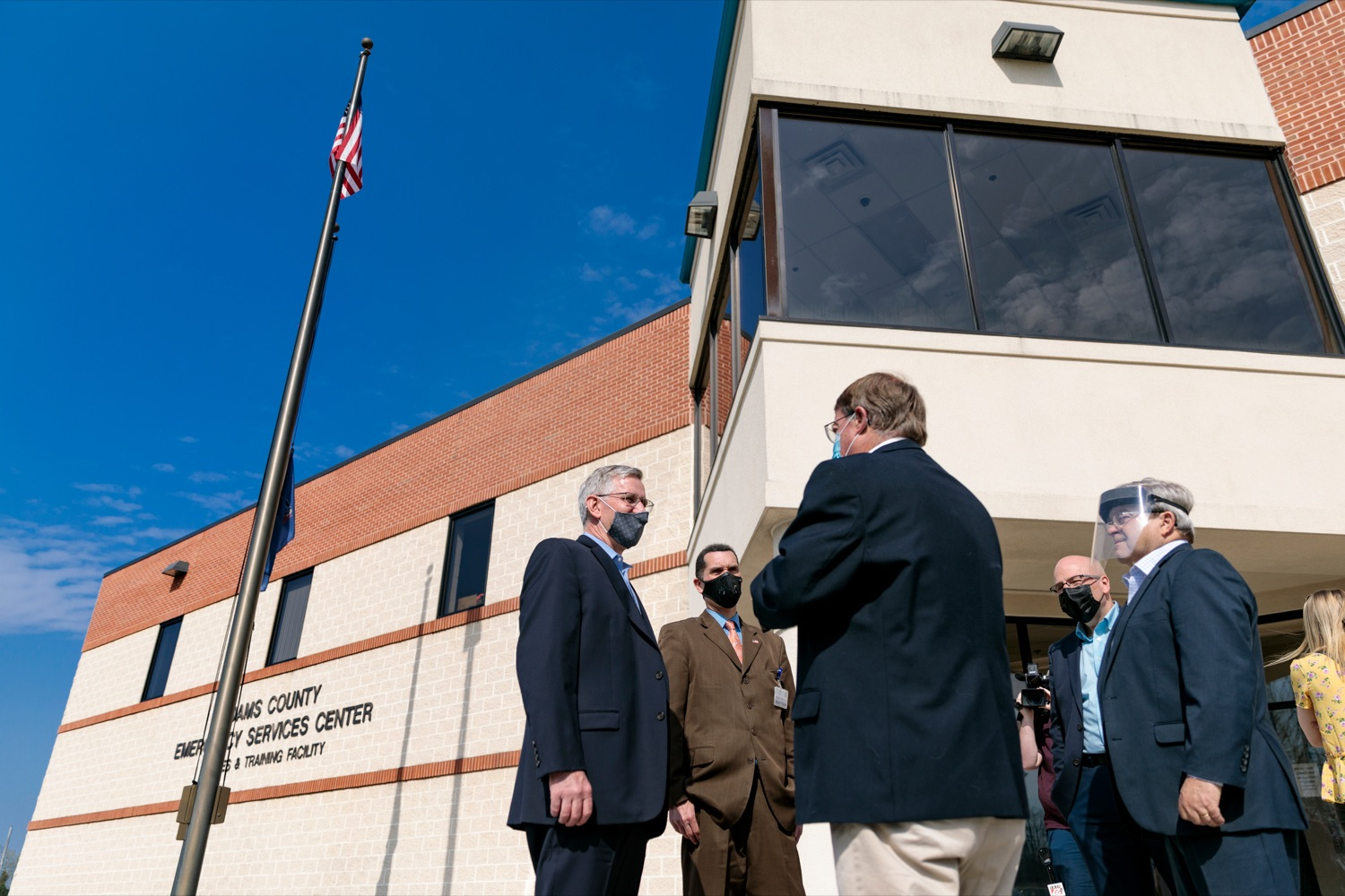 "<a href=""https://filesource.wostreaming.net/commonwealthofpa/photo/18667_AGRIC_Vaccines_NK_009.jpg"" target=""_blank"">⇣ Download Photo<br></a>Dept. of Agriculture Secretary Russell Redding gathers outside of a vaccination site located inside Adams County Emergency Department on Wednesday, April 7, 2021."