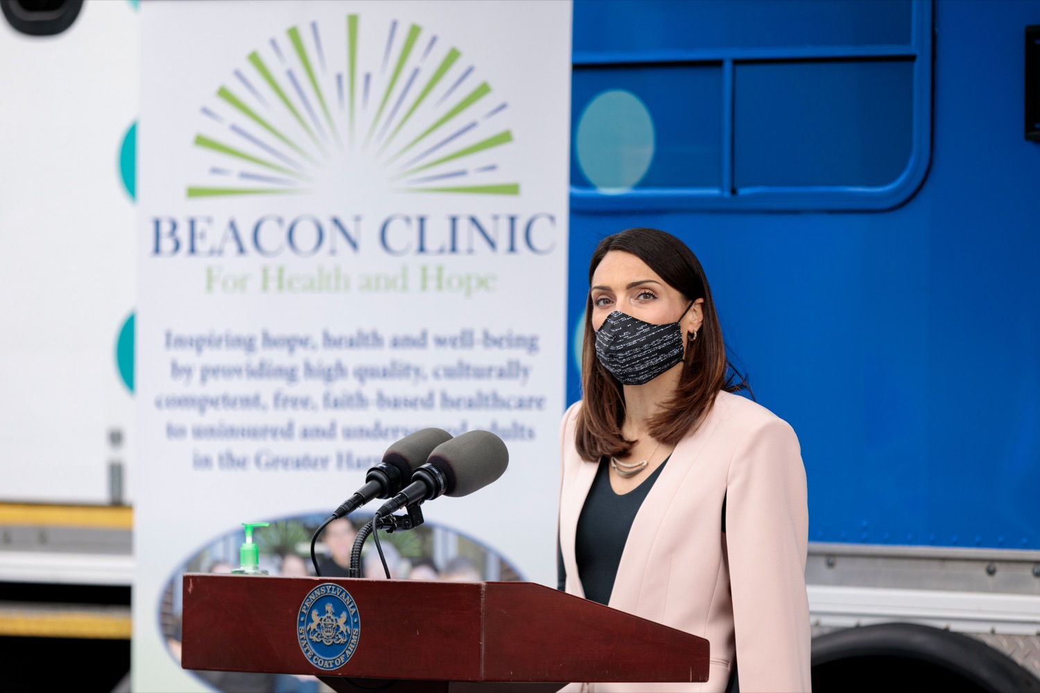 """<a href=""""https://filesource.wostreaming.net/commonwealthofpa/photo/18675_DOH_Beacon_Clinic_NK_001.jpg"""" target=""""_blank"""">⇣Download Photo<br></a>PA Department of Health Acting Secretary Alison Beam speaks during a press conference, which discussed an upcoming COVID-19 mobile response vaccination tour to provide vaccinations and education to minority and underserved communities across the commonwealth, outside of Beacon Clinic in Harrisburg on Monday, April 12, 2021."""