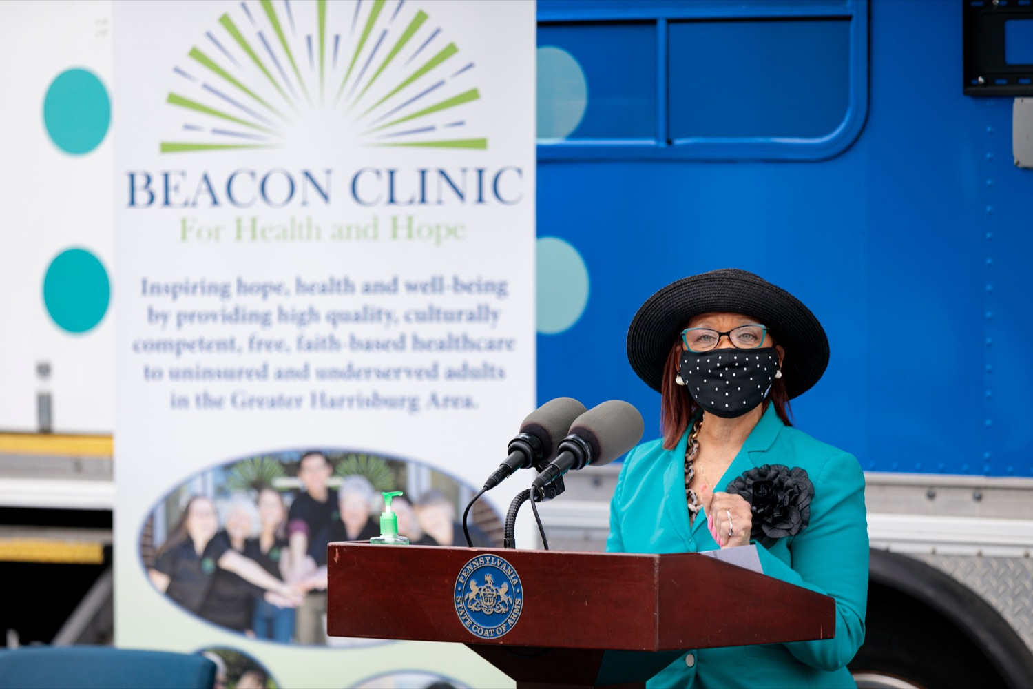 """<a href=""""https://filesource.wostreaming.net/commonwealthofpa/photo/18675_DOH_Beacon_Clinic_NK_012.jpg"""" target=""""_blank"""">⇣Download Photo<br></a>Independence Blue Cross Foundation President Rev. Dr. Lorina Marshall-Blake speaks during a press conference, which discussed an upcoming COVID-19 mobile response vaccination tour to provide vaccinations and education to minority and underserved communities across the commonwealth, outside of Beacon Clinic in Harrisburg on Monday, April 12, 2021."""