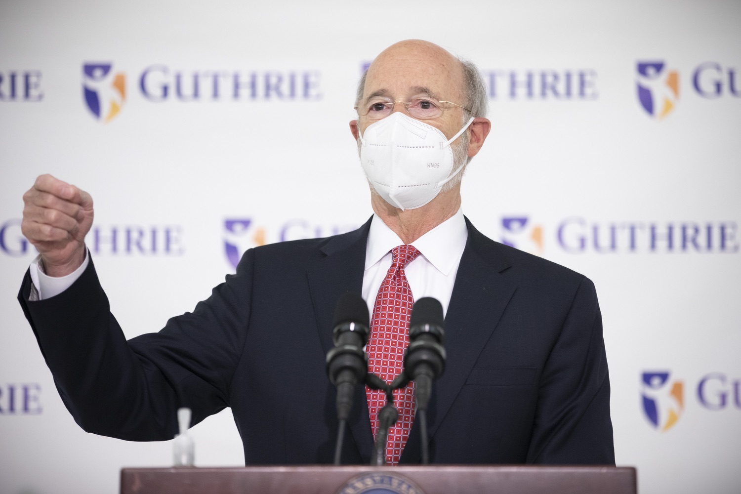 """<a href=""""https://filesource.wostreaming.net/commonwealthofpa/photo/18682_gov_vaccineClinic_dz_017.jpg"""" target=""""_blank"""">⇣Download Photo<br></a>Pennsylvania Governor Tom Wolf speaking with the press.  Governor Tom Wolf today visited the Guthrie Health vaccine clinic in Sayre, Bradford County today to tour this clinic providing vaccines to a large swath of rural residents and to talk about progress in vaccinating Pennsylvanians now that eligibility is open to all individuals age 16 and older.  Sayre, PA   April 21, 2021"""