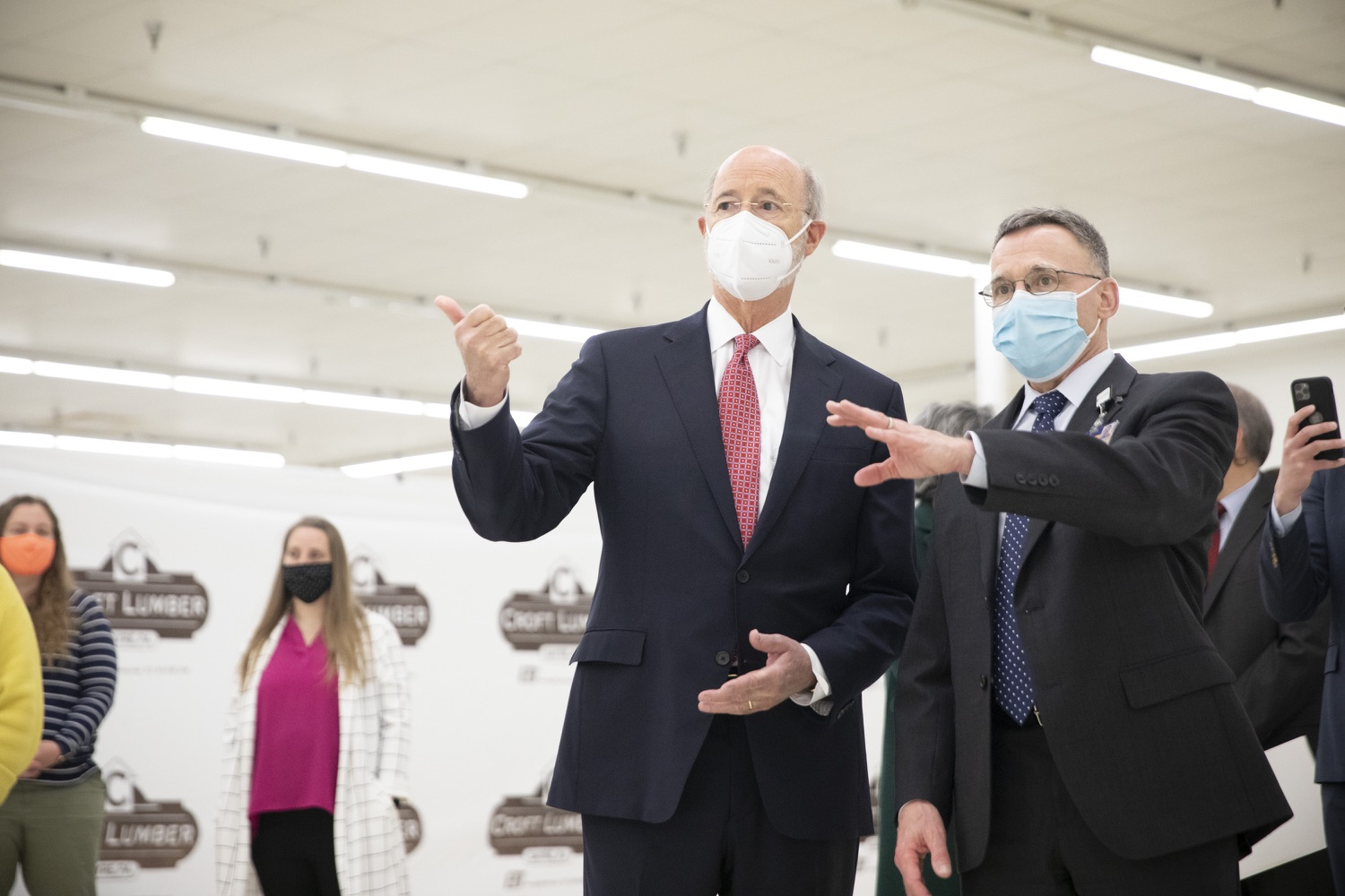 """<a href=""""https://filesource.wostreaming.net/commonwealthofpa/photo/18682_gov_vaccineClinic_dz_018.jpg"""" target=""""_blank"""">⇣Download Photo<br></a>Pennsylvania Governor Tom Wolf touring the regional vaccination clinic with Dr. J. Michael Scalzone, MD.  Governor Tom Wolf today visited the Guthrie Health vaccine clinic in Sayre, Bradford County today to tour this clinic providing vaccines to a large swath of rural residents and to talk about progress in vaccinating Pennsylvanians now that eligibility is open to all individuals age 16 and older.  Sayre, PA   April 21, 2021"""