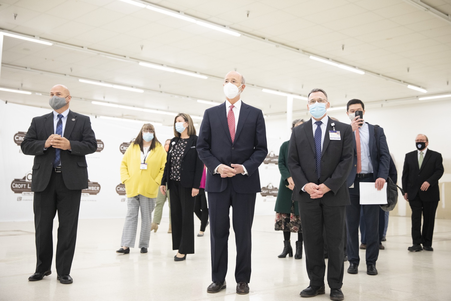 """<a href=""""https://filesource.wostreaming.net/commonwealthofpa/photo/18682_gov_vaccineClinic_dz_022.jpg"""" target=""""_blank"""">⇣Download Photo<br></a>Pennsylvania Governor Tom Wolf touring the regional vaccination clinic with Dr. J. Michael Scalzone, MD.  Governor Tom Wolf today visited the Guthrie Health vaccine clinic in Sayre, Bradford County today to tour this clinic providing vaccines to a large swath of rural residents and to talk about progress in vaccinating Pennsylvanians now that eligibility is open to all individuals age 16 and older.  Sayre, PA   April 21, 2021"""