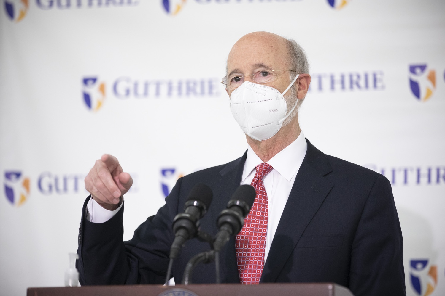 """<a href=""""https://filesource.wostreaming.net/commonwealthofpa/photo/18682_gov_vaccineClinic_dz_024.jpg"""" target=""""_blank"""">⇣Download Photo<br></a>Pennsylvania Governor Tom Wolf speaking with the press.  Governor Tom Wolf today visited the Guthrie Health vaccine clinic in Sayre, Bradford County today to tour this clinic providing vaccines to a large swath of rural residents and to talk about progress in vaccinating Pennsylvanians now that eligibility is open to all individuals age 16 and older.  Sayre, PA   April 21, 2021"""