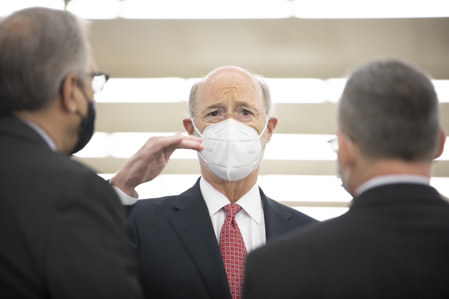 """<a href=""""https://filesource.wostreaming.net/commonwealthofpa/photo/18682_gov_vaccineClinic_dz_028.jpg"""" target=""""_blank"""">⇣Download Photo<br></a>Pennsylvania Governor Tom Wolf speaking with Joseph Scopelliti, MD President and CEO The Guthrie Clinic and Dr. J. Michael Scalzone, MD.  .  Governor Tom Wolf today visited the Guthrie Health vaccine clinic in Sayre, Bradford County today to tour this clinic providing vaccines to a large swath of rural residents and to talk about progress in vaccinating Pennsylvanians now that eligibility is open to all individuals age 16 and older.  Sayre, PA   April 21, 2021"""