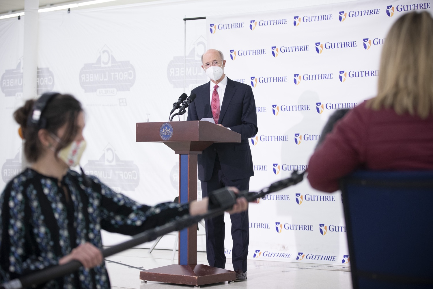 """<a href=""""https://filesource.wostreaming.net/commonwealthofpa/photo/18682_gov_vaccineClinic_dz_033.jpg"""" target=""""_blank"""">⇣Download Photo<br></a>Pennsylvania Governor Tom Wolf answers speaking with the press.  Governor Tom Wolf today visited the Guthrie Health vaccine clinic in Sayre, Bradford County today to tour this clinic providing vaccines to a large swath of rural residents and to talk about progress in vaccinating Pennsylvanians now that eligibility is open to all individuals age 16 and older.  Sayre, PA   April 21, 2021"""