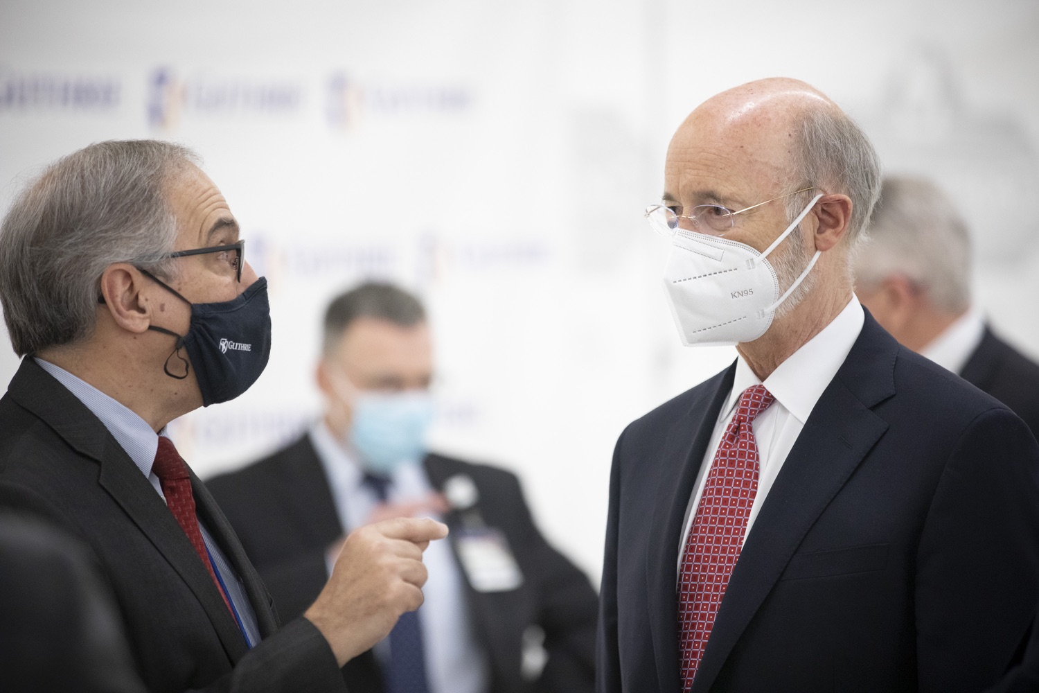 """<a href=""""https://filesource.wostreaming.net/commonwealthofpa/photo/18682_gov_vaccineClinic_dz_034.jpg"""" target=""""_blank"""">⇣Download Photo<br></a>Pennsylvania Governor Tom Wolf answers speaking with Joseph Scopelliti, MD President and CEO The Guthrie Clinic.  Governor Tom Wolf today visited the Guthrie Health vaccine clinic in Sayre, Bradford County today to tour this clinic providing vaccines to a large swath of rural residents and to talk about progress in vaccinating Pennsylvanians now that eligibility is open to all individuals age 16 and older.  Sayre, PA   April 21, 2021"""
