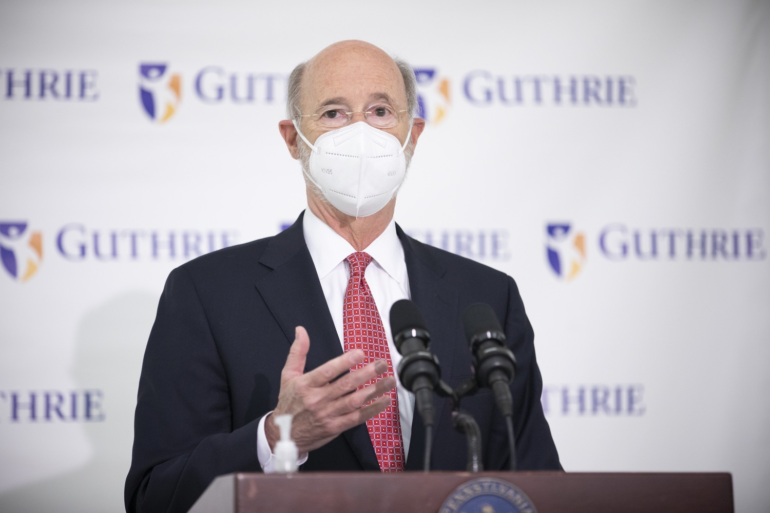 """<a href=""""https://filesource.wostreaming.net/commonwealthofpa/photo/18682_gov_vaccineClinic_dz_036.jpg"""" target=""""_blank"""">⇣Download Photo<br></a>Pennsylvania Governor Tom Wolf speaking with the press.  Governor Tom Wolf today visited the Guthrie Health vaccine clinic in Sayre, Bradford County today to tour this clinic providing vaccines to a large swath of rural residents and to talk about progress in vaccinating Pennsylvanians now that eligibility is open to all individuals age 16 and older.  Sayre, PA   April 21, 2021"""