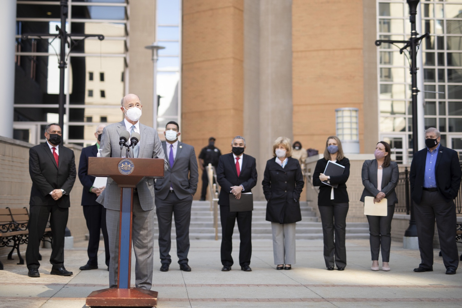 """<a href=""""https://filesource.wostreaming.net/commonwealthofpa/photo/18688_gov_vaccines_dz_006.jpg"""" target=""""_blank"""">⇣Download Photo<br></a>Pennsylvania Governor Tom Wolf speaking with the press.  As Pennsylvania continues its accelerated COVID-19 vaccination plan, Pennsylvanians who are not able to leave their homes must be reached, and various state agencies and community groups are helping. Governor Tom Wolf visited Reading to talk about how the state and its partners are using various means to reach people not able to leave home to be vaccinated against COVID-19.  APRIL 26, 2021 - READING, PA"""