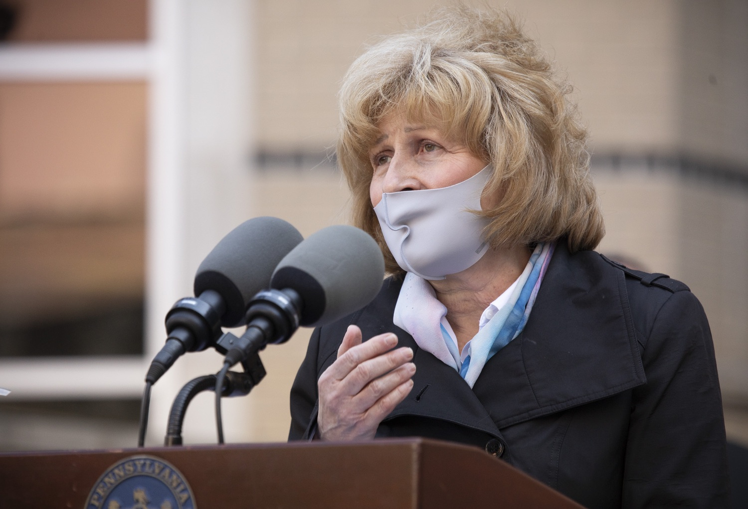 """<a href=""""https://filesource.wostreaming.net/commonwealthofpa/photo/18688_gov_vaccines_dz_009.jpg"""" target=""""_blank"""">⇣Download Photo<br></a>Senator Judy Schwank speaking with the press.  As Pennsylvania continues its accelerated COVID-19 vaccination plan, Pennsylvanians who are not able to leave their homes must be reached, and various state agencies and community groups are helping. Governor Tom Wolf visited Reading to talk about how the state and its partners are using various means to reach people not able to leave home to be vaccinated against COVID-19.  APRIL 26, 2021 - READING, PA"""
