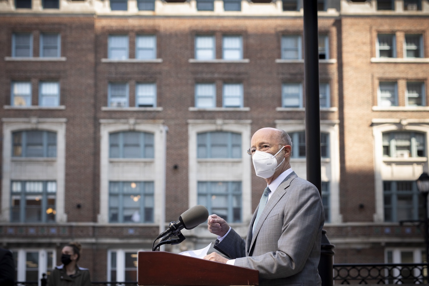 """<a href=""""https://filesource.wostreaming.net/commonwealthofpa/photo/18688_gov_vaccines_dz_020.jpg"""" target=""""_blank"""">⇣Download Photo<br></a>Pennsylvania Governor Tom Wolf speaking with the press.  As Pennsylvania continues its accelerated COVID-19 vaccination plan, Pennsylvanians who are not able to leave their homes must be reached, and various state agencies and community groups are helping. Governor Tom Wolf visited Reading to talk about how the state and its partners are using various means to reach people not able to leave home to be vaccinated against COVID-19.  APRIL 26, 2021 - READING, PA"""