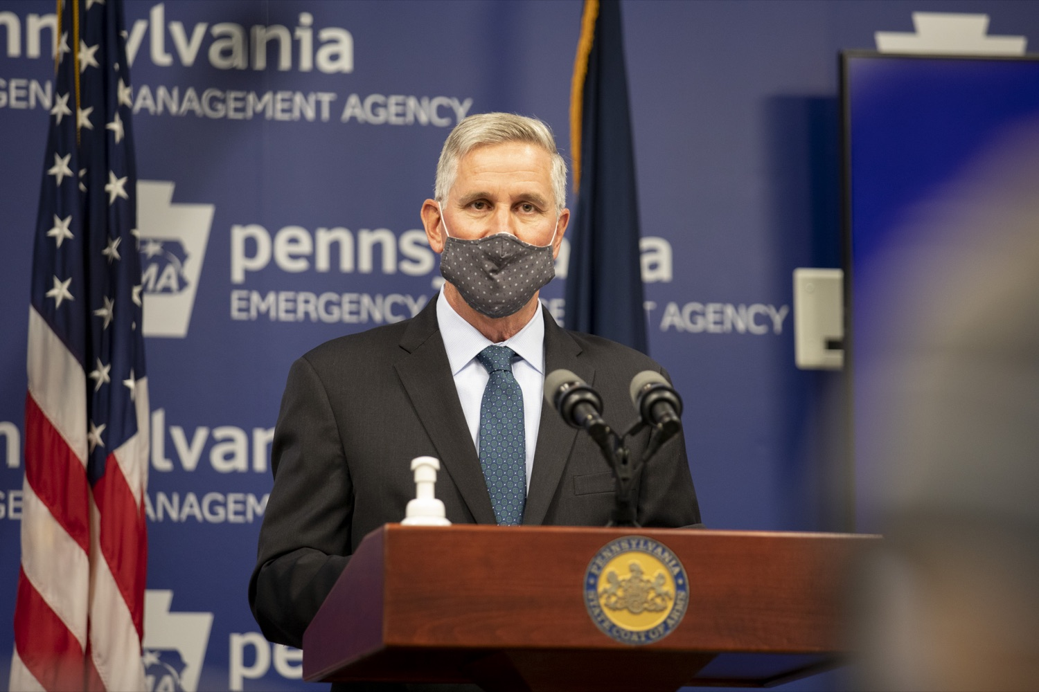 """<a href=""""https://filesource.wostreaming.net/commonwealthofpa/photo/18709_agric_foodAssistance_07.jpg"""" target=""""_blank"""">⇣Download Photo<br></a>Secretary of Agriculture Russell Redding discusses the Wolf Administration's efforts to support Pennsylvania's food assistance programs to prevent hunger throughout the COVID-19 crisis. Harrisburg, PA on April 28, 2021."""
