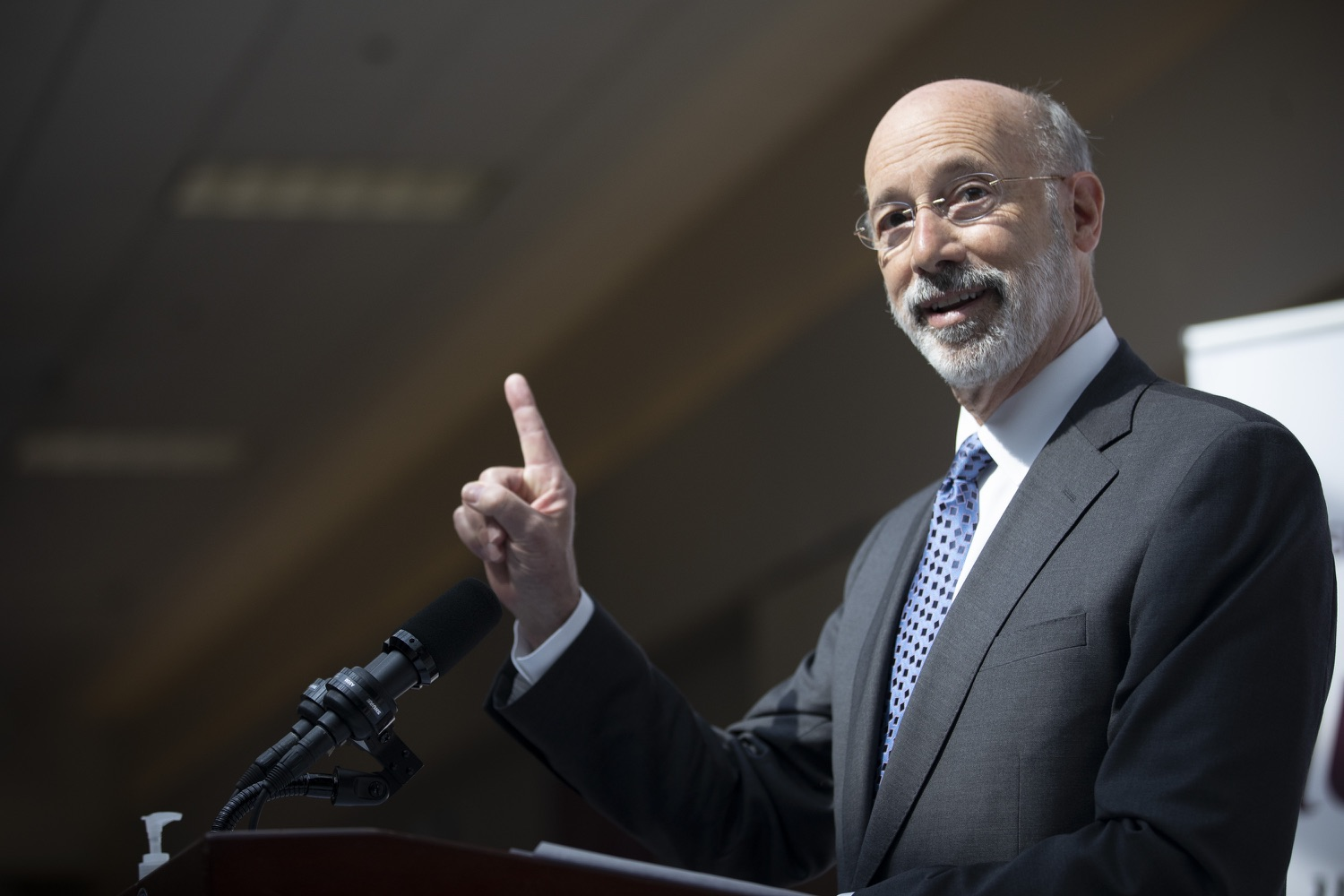 "<a href=""https://filesource.wostreaming.net/commonwealthofpa/photo/18712_gov_vaccines_dz_001.jpg"" target=""_blank"">⇣ Download Photo<br></a>Pennsylvania Governor Tom Wolf speaking with the press.  Continuing to visit COVID-19 vaccine clinics around the state, Governor Tom Wolf toured a clinic at the Washington Crown Center in Washington County today. The clinic is one of three operated by the Washington Health System (WHS) serving rural communities in southwestern Pennsylvania.  North Franklin Township, PA  April 28, 2021"