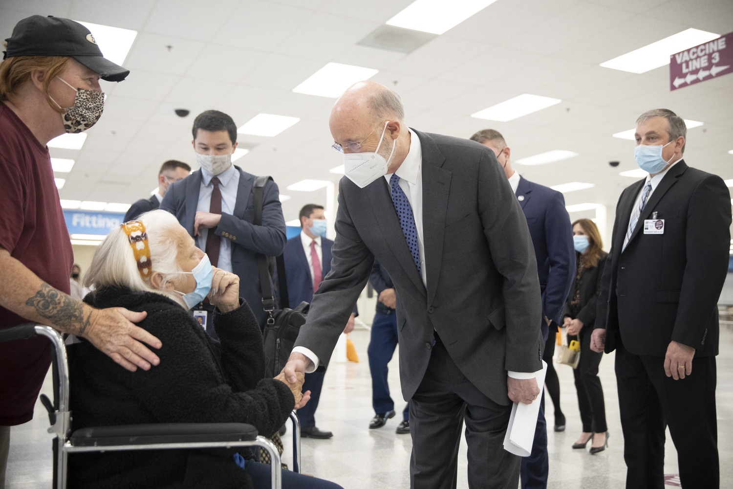"<a href=""https://filesource.wostreaming.net/commonwealthofpa/photo/18712_gov_vaccines_dz_004.jpg"" target=""_blank"">⇣ Download Photo<br></a>Pennsylvania Governor Tom Wolf touring the vaccine facility with  Brook Ward, Washington Health System CEO & President and Pennsylvania State Representative Tim O'Neal.Continuing to visit COVID-19 vaccine clinics around the state, Governor Tom Wolf toured a clinic at the Washington Crown Center in Washington County today. The clinic is one of three operated by the Washington Health System (WHS) serving rural communities in southwestern Pennsylvania.  North Franklin Township, PA  April 28, 2021"