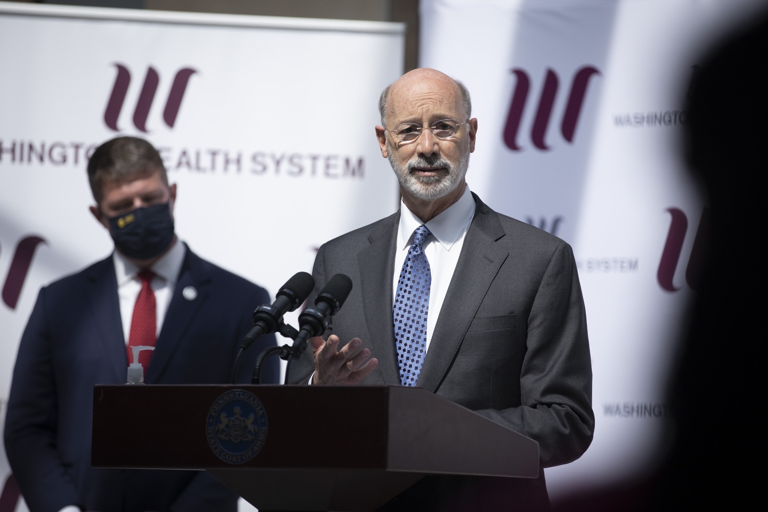 "<a href=""https://filesource.wostreaming.net/commonwealthofpa/photo/18712_gov_vaccines_dz_012.jpg"" target=""_blank"">⇣ Download Photo<br></a>Pennsylvania Governor Tom Wolf speaking with the press.  Continuing to visit COVID-19 vaccine clinics around the state, Governor Tom Wolf toured a clinic at the Washington Crown Center in Washington County today. The clinic is one of three operated by the Washington Health System (WHS) serving rural communities in southwestern Pennsylvania.  North Franklin Township, PA  April 28, 2021"