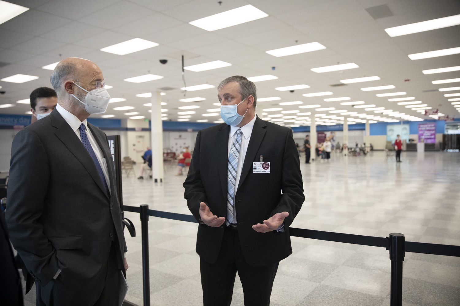 "<a href=""https://filesource.wostreaming.net/commonwealthofpa/photo/18712_gov_vaccines_dz_014.jpg"" target=""_blank"">⇣ Download Photo<br></a>Pennsylvania Governor Tom Wolf touring the vaccine facility with  Brook Ward, Washington Health System CEO . Continuing to visit COVID-19 vaccine clinics around the state, Governor Tom Wolf toured a clinic at the Washington Crown Center in Washington County today. The clinic is one of three operated by the Washington Health System (WHS) serving rural communities in southwestern Pennsylvania.  North Franklin Township, PA  April 28, 2021"