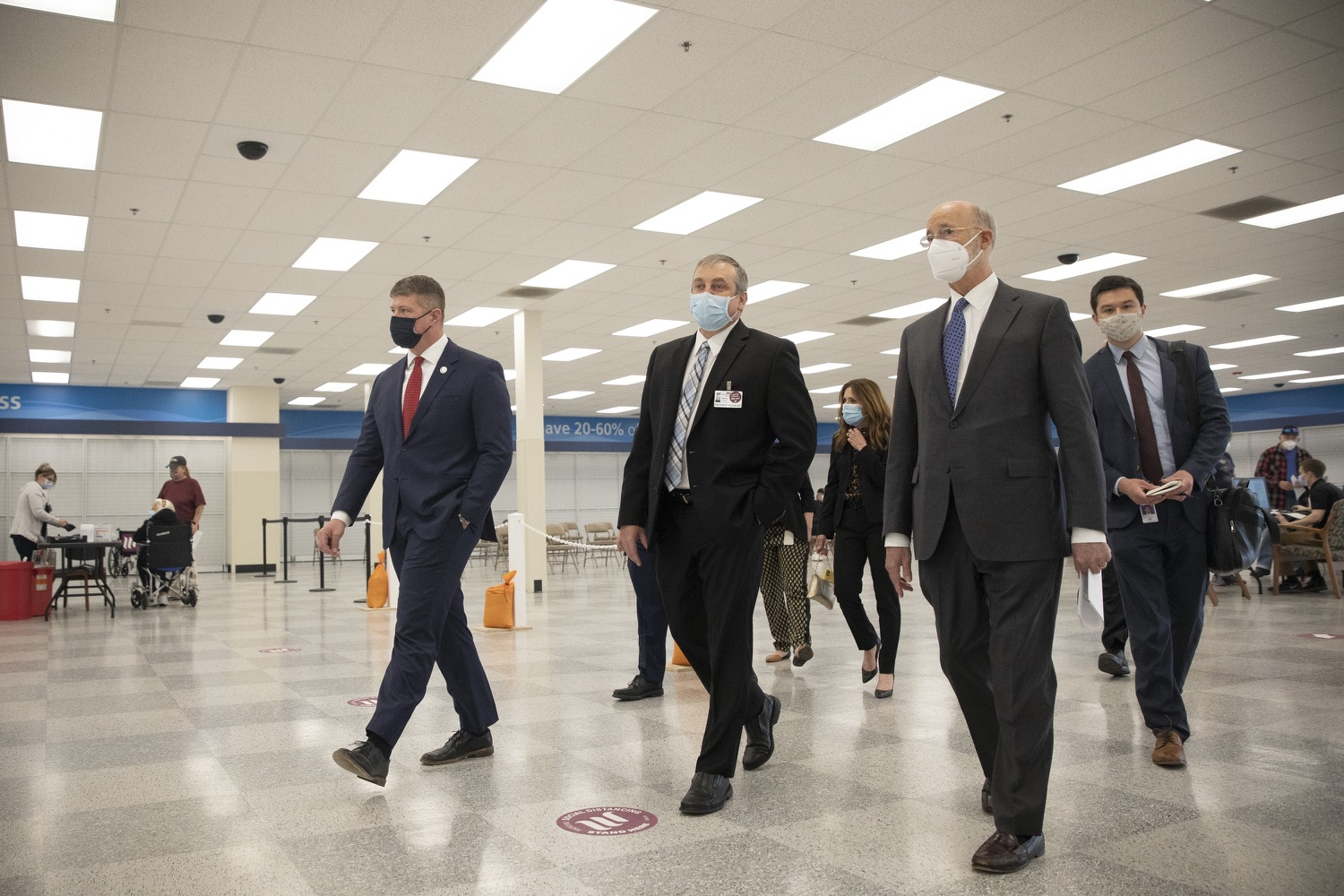 "<a href=""https://filesource.wostreaming.net/commonwealthofpa/photo/18712_gov_vaccines_dz_016.jpg"" target=""_blank"">⇣ Download Photo<br></a>Pennsylvania Governor Tom Wolf touring the vaccine facility with  Brook Ward, Washington Health System CEO & President and Pennsylvania State Representative Tim O'Neal.Continuing to visit COVID-19 vaccine clinics around the state, Governor Tom Wolf toured a clinic at the Washington Crown Center in Washington County today. The clinic is one of three operated by the Washington Health System (WHS) serving rural communities in southwestern Pennsylvania.  North Franklin Township, PA  April 28, 2021"
