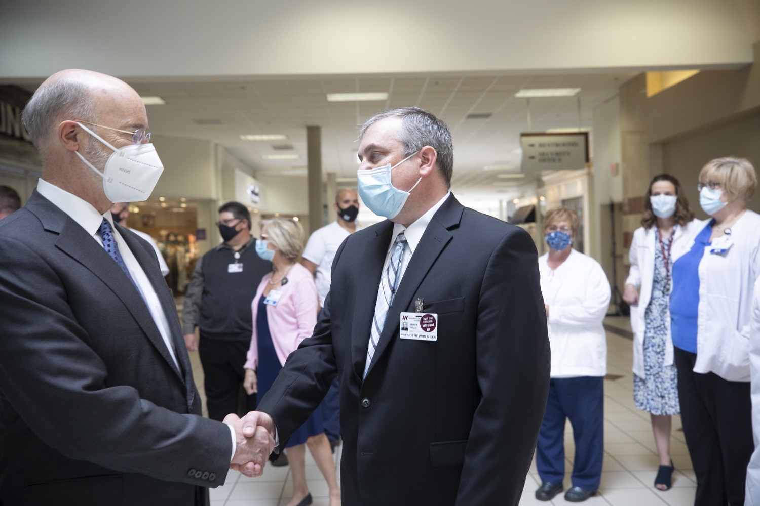 "<a href=""https://filesource.wostreaming.net/commonwealthofpa/photo/18712_gov_vaccines_dz_020.jpg"" target=""_blank"">⇣ Download Photo<br></a>Pennsylvania Governor Tom Wolf touring the vaccine facility with  Brook Ward, Washington Health System CEO .  Continuing to visit COVID-19 vaccine clinics around the state, Governor Tom Wolf toured a clinic at the Washington Crown Center in Washington County today. The clinic is one of three operated by the Washington Health System (WHS) serving rural communities in southwestern Pennsylvania.  North Franklin Township, PA  April 28, 2021"