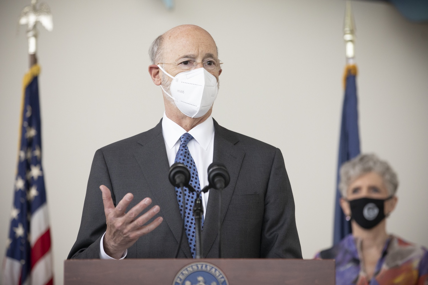 """<a href=""""https://filesource.wostreaming.net/commonwealthofpa/photo/18716_gov_erieVaccination_dz_001.jpg"""" target=""""_blank"""">⇣Download Photo<br></a>Pennsylvania Governor Tom Wolf speaking with the press.  Governor Tom Wolf toured a COVID-19 vaccine clinic at the Bayfront Convention Center in Erie that is operated by the Erie County Department of Health and the Lake Erie College of Osteopathic Medicine (LECOM) Institute for Successful Aging. The governor discussed the states vaccination effort and reminded all Pennsylvanians the vaccine is available, free and safe.  Erie, PA  April 28, 2021"""
