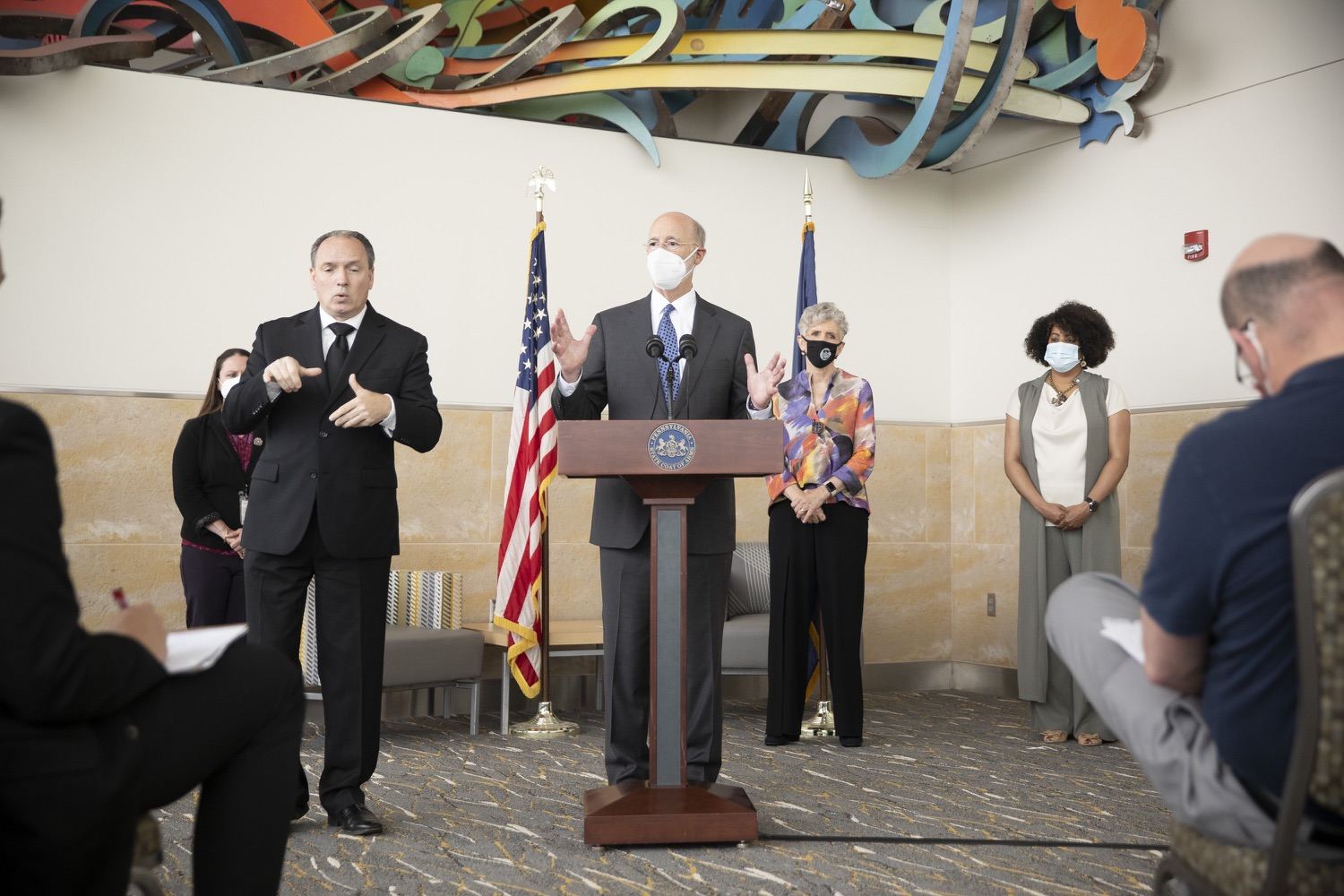 """<a href=""""https://filesource.wostreaming.net/commonwealthofpa/photo/18716_gov_erieVaccination_dz_003.jpg"""" target=""""_blank"""">⇣Download Photo<br></a>Pennsylvania Governor Tom Wolf speaking with the press.  Governor Tom Wolf toured a COVID-19 vaccine clinic at the Bayfront Convention Center in Erie that is operated by the Erie County Department of Health and the Lake Erie College of Osteopathic Medicine (LECOM) Institute for Successful Aging. The governor discussed the states vaccination effort and reminded all Pennsylvanians the vaccine is available, free and safe.  Erie, PA  April 28, 2021"""