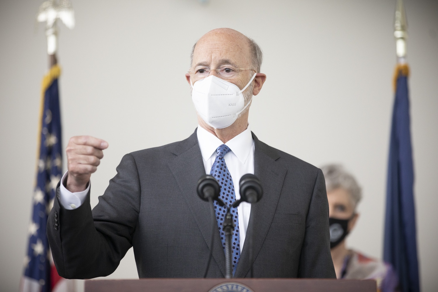 """<a href=""""https://filesource.wostreaming.net/commonwealthofpa/photo/18716_gov_erieVaccination_dz_007.jpg"""" target=""""_blank"""">⇣Download Photo<br></a>Pennsylvania Governor Tom Wolf speaking with the press.  Governor Tom Wolf toured a COVID-19 vaccine clinic at the Bayfront Convention Center in Erie that is operated by the Erie County Department of Health and the Lake Erie College of Osteopathic Medicine (LECOM) Institute for Successful Aging. The governor discussed the states vaccination effort and reminded all Pennsylvanians the vaccine is available, free and safe.  Erie, PA  April 28, 2021"""