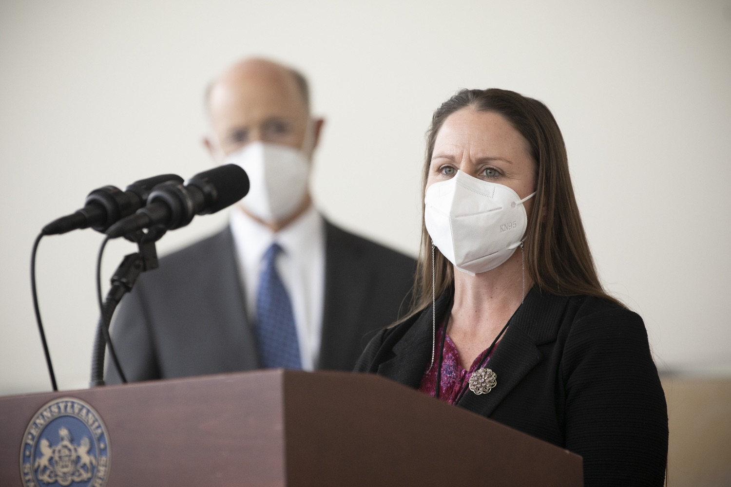 """<a href=""""https://filesource.wostreaming.net/commonwealthofpa/photo/18716_gov_erieVaccination_dz_010.jpg"""" target=""""_blank"""">⇣Download Photo<br></a>Melissa Lyon, Director, Erie County Department of Health speaking with the press.  Governor Tom Wolf toured a COVID-19 vaccine clinic at the Bayfront Convention Center in Erie that is operated by the Erie County Department of Health and the Lake Erie College of Osteopathic Medicine (LECOM) Institute for Successful Aging. The governor discussed the states vaccination effort and reminded all Pennsylvanians the vaccine is available, free and safe.  Erie, PA  April 28, 2021"""