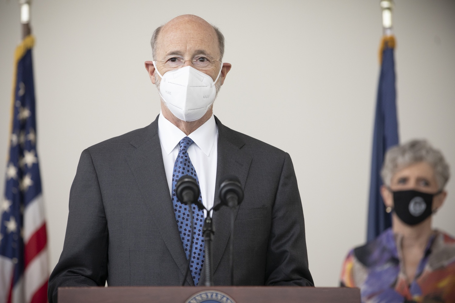 """<a href=""""https://filesource.wostreaming.net/commonwealthofpa/photo/18716_gov_erieVaccination_dz_011.jpg"""" target=""""_blank"""">⇣Download Photo<br></a>Pennsylvania Governor Tom Wolf speaking with the press.  Governor Tom Wolf toured a COVID-19 vaccine clinic at the Bayfront Convention Center in Erie that is operated by the Erie County Department of Health and the Lake Erie College of Osteopathic Medicine (LECOM) Institute for Successful Aging. The governor discussed the states vaccination effort and reminded all Pennsylvanians the vaccine is available, free and safe.  Erie, PA  April 28, 2021"""
